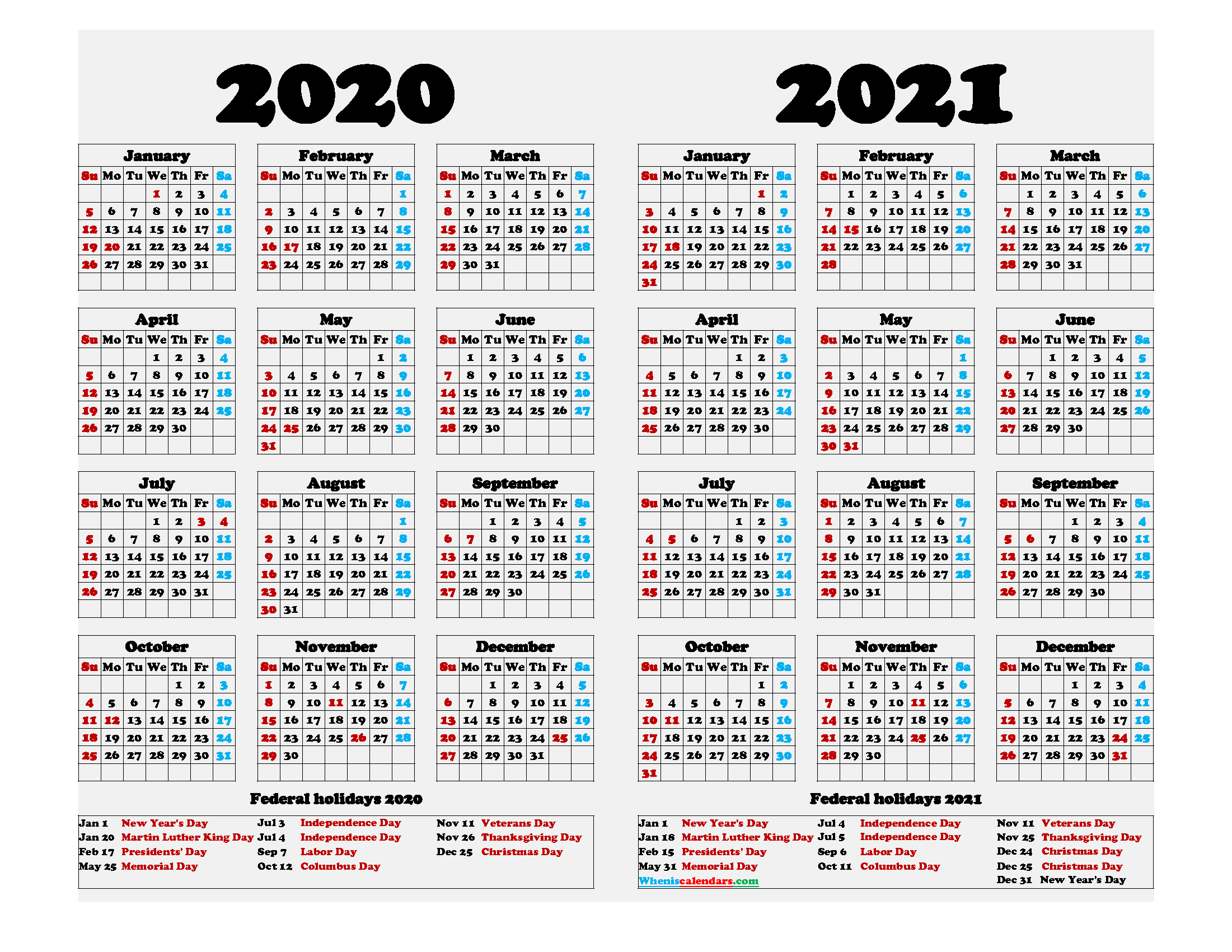2020 2021 Calendar Printable with Holidays