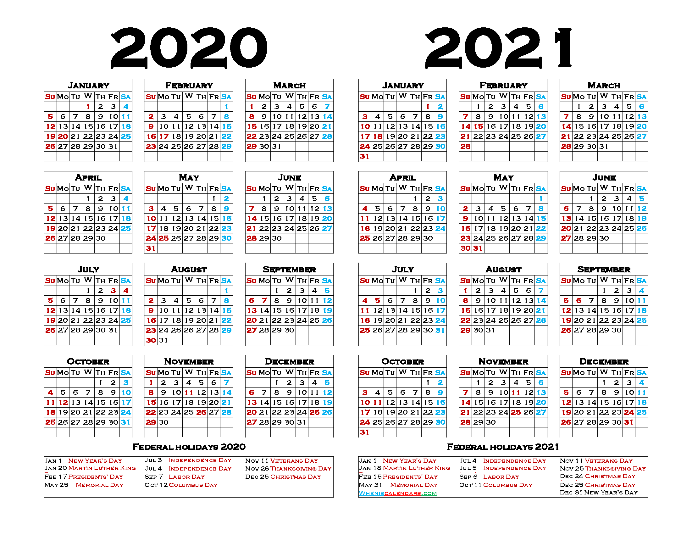 2020 2021 Printable Calendar with Holidays