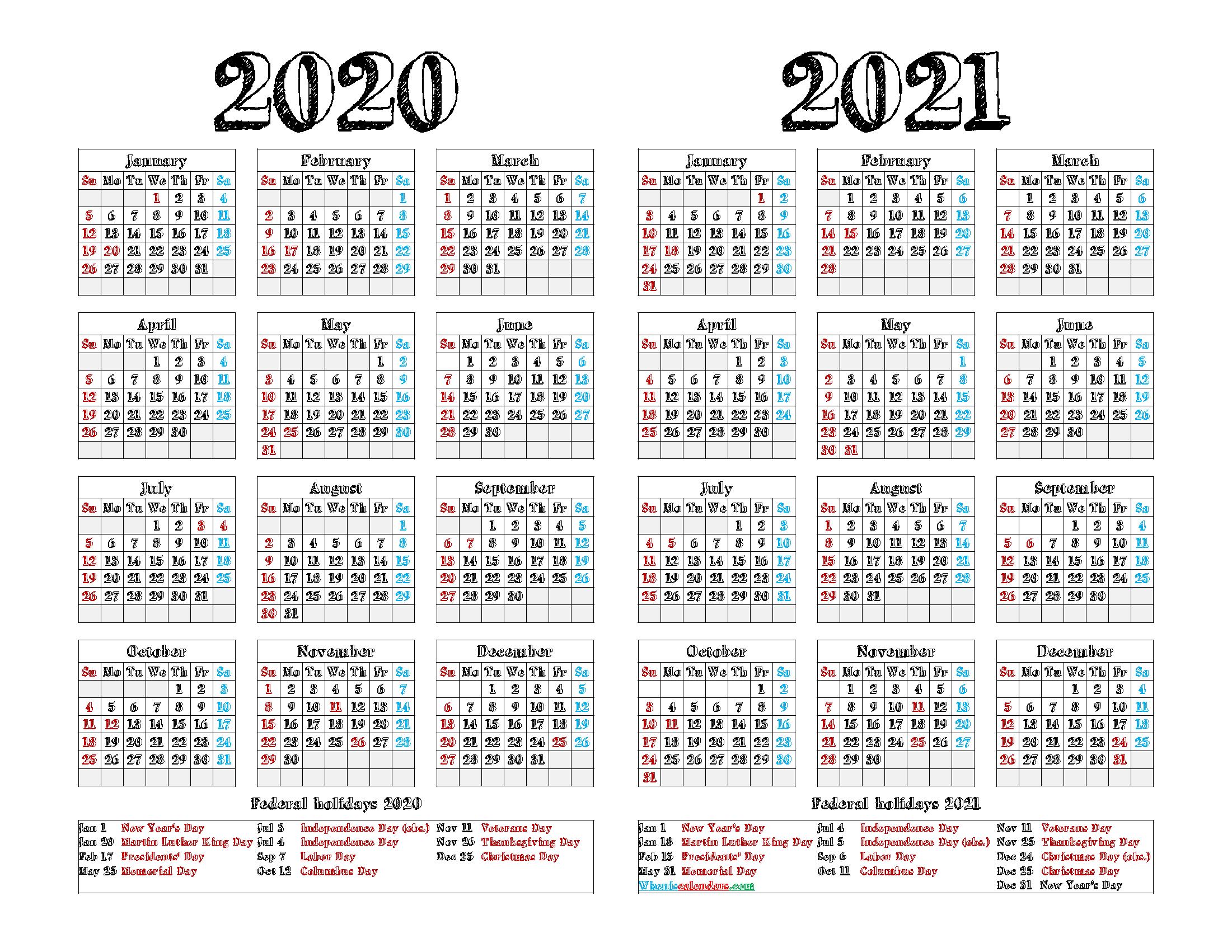 2020 and 2021 Calendar Printable PDF