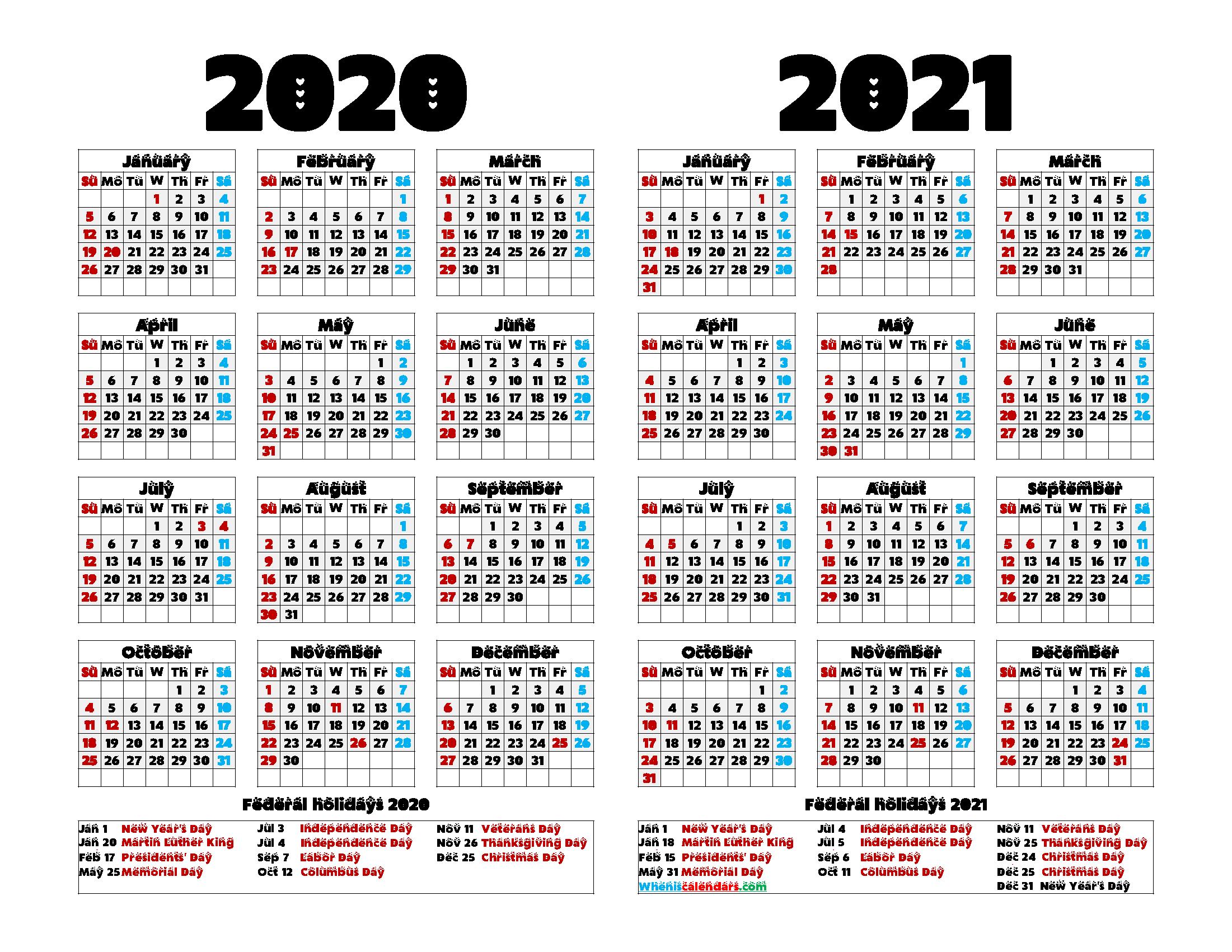 2020 2021 Printable Calendar with Holidays