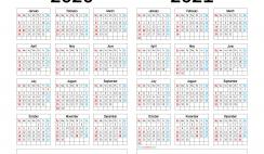 2020 and 2021 Calendar Printable
