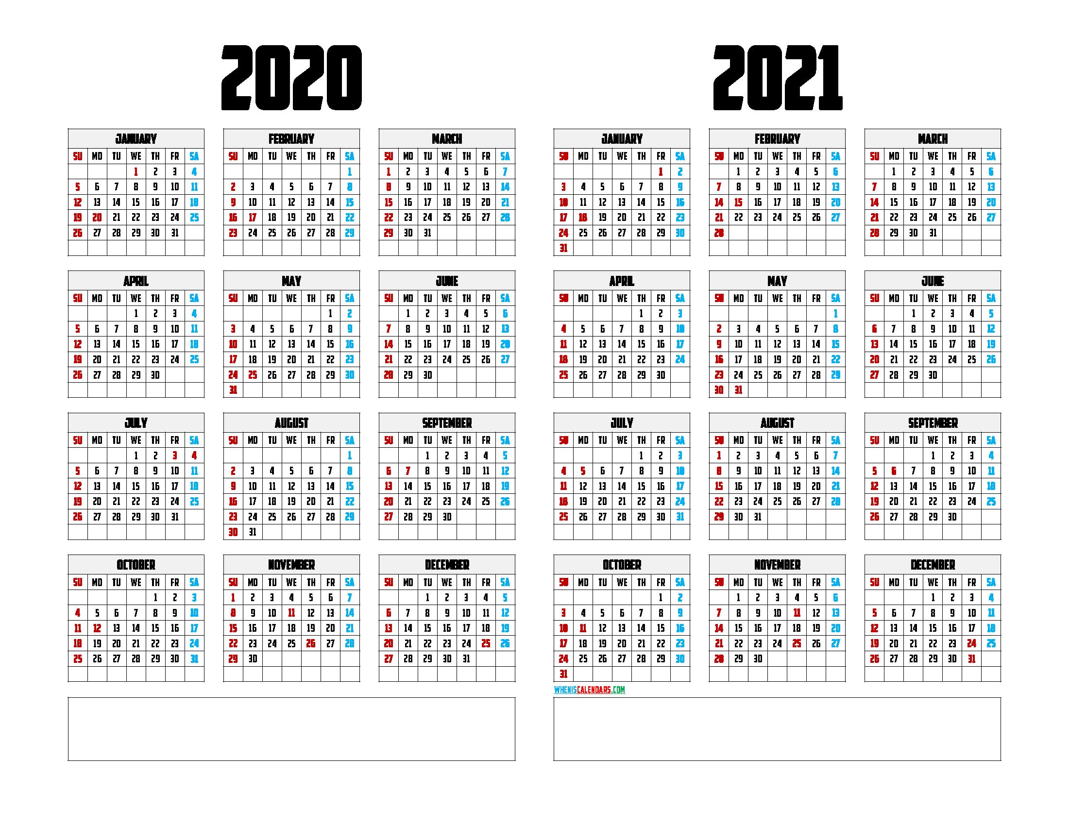Printable 2020 and 2021 Calendar Template