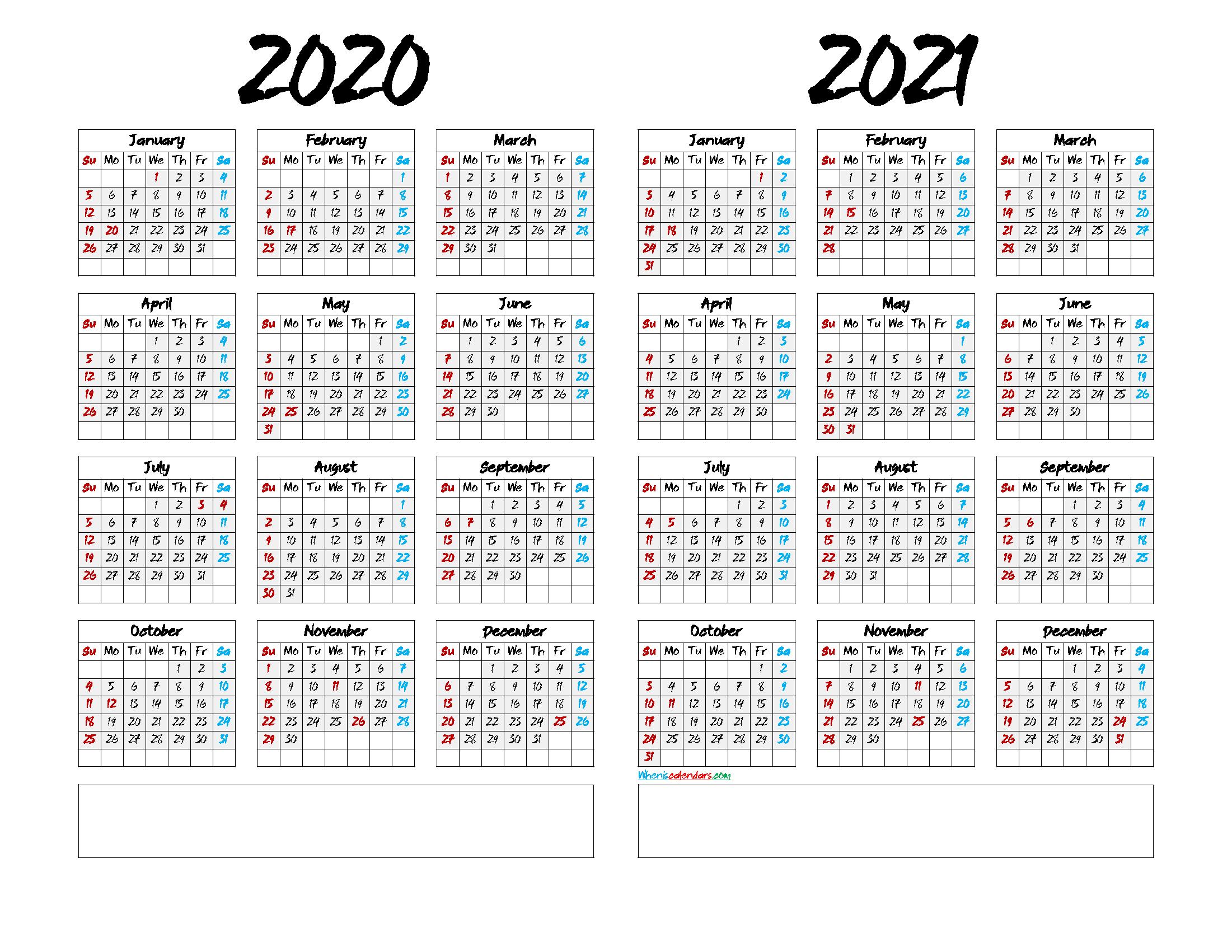 Printable 2020 and 2021 Calendar Landscape