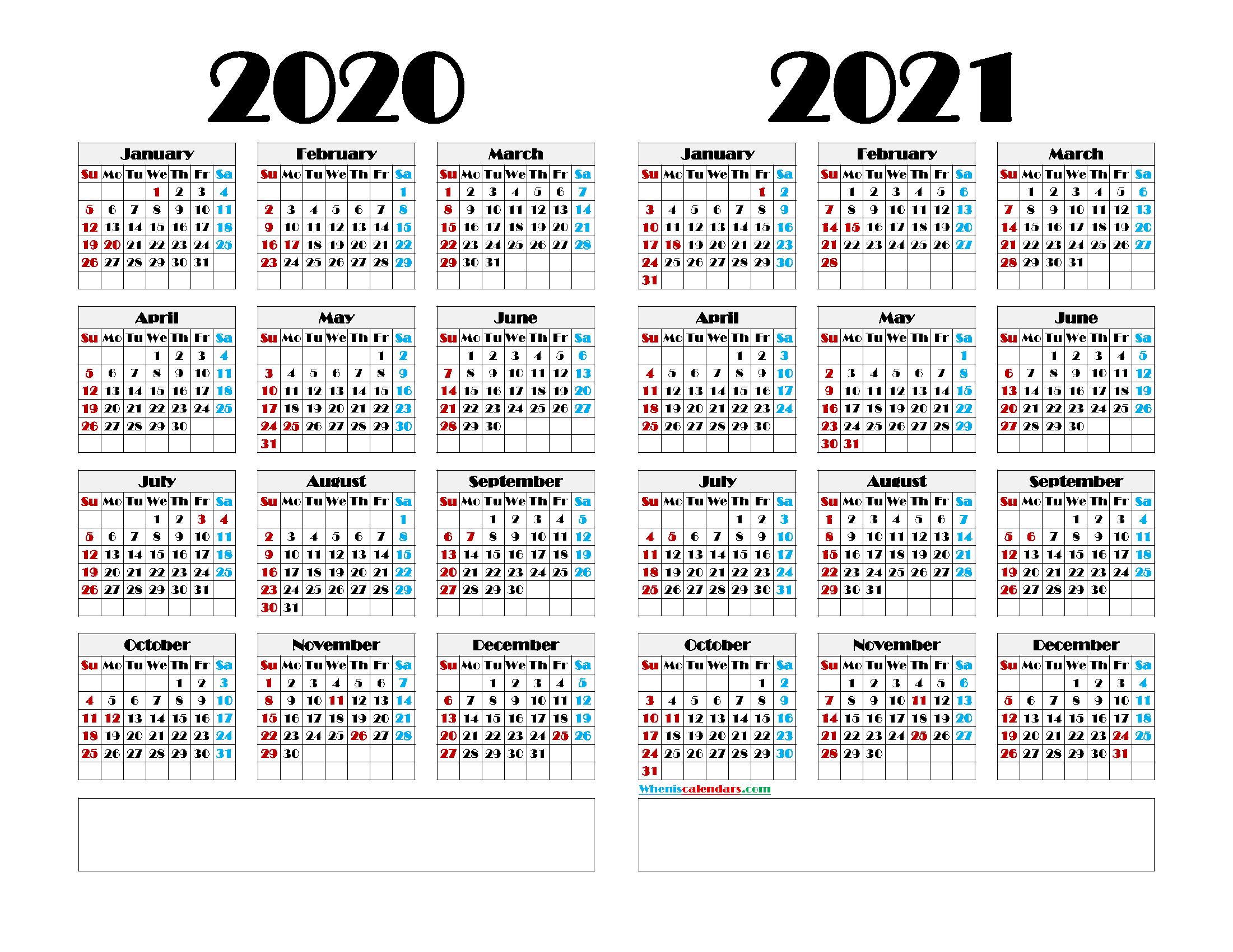 2020 and 2021 Calendar Printable Lanscape