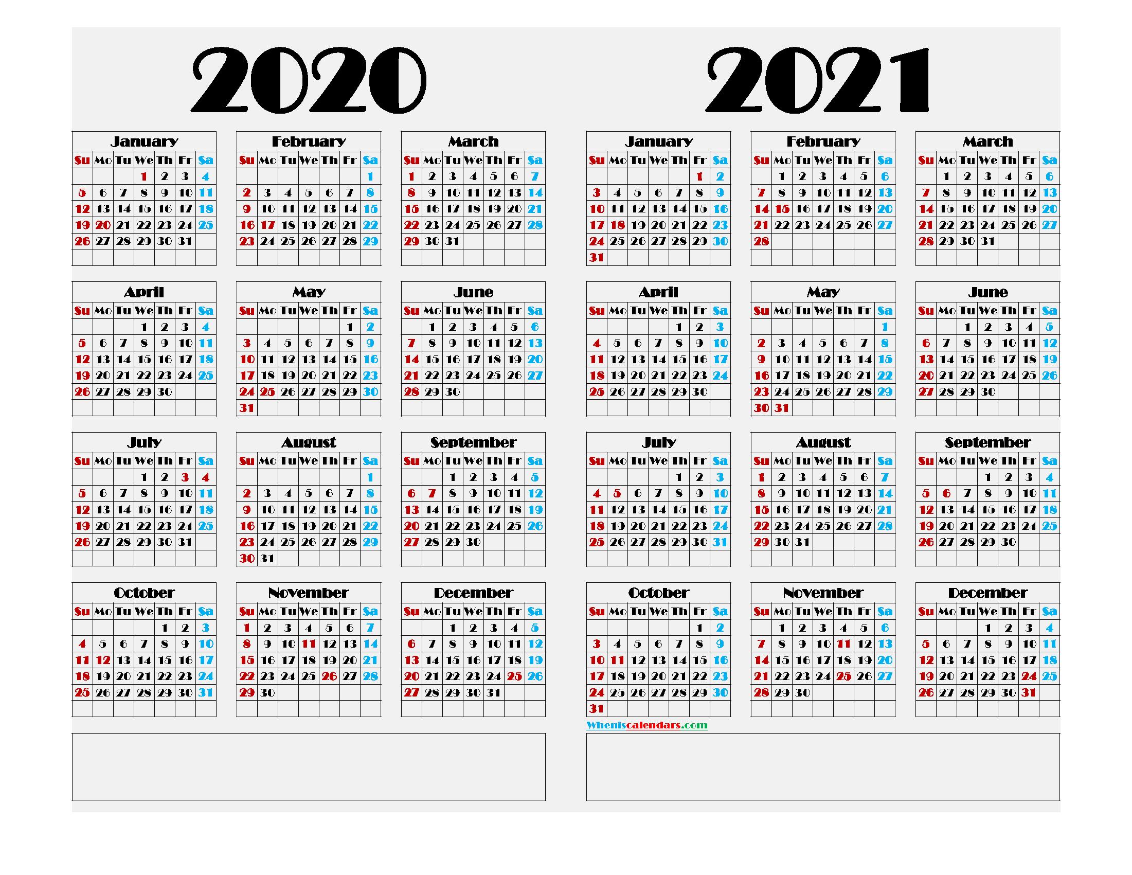 2020 and 2021 Printable Calendar Landscape - 9 Templates ...
