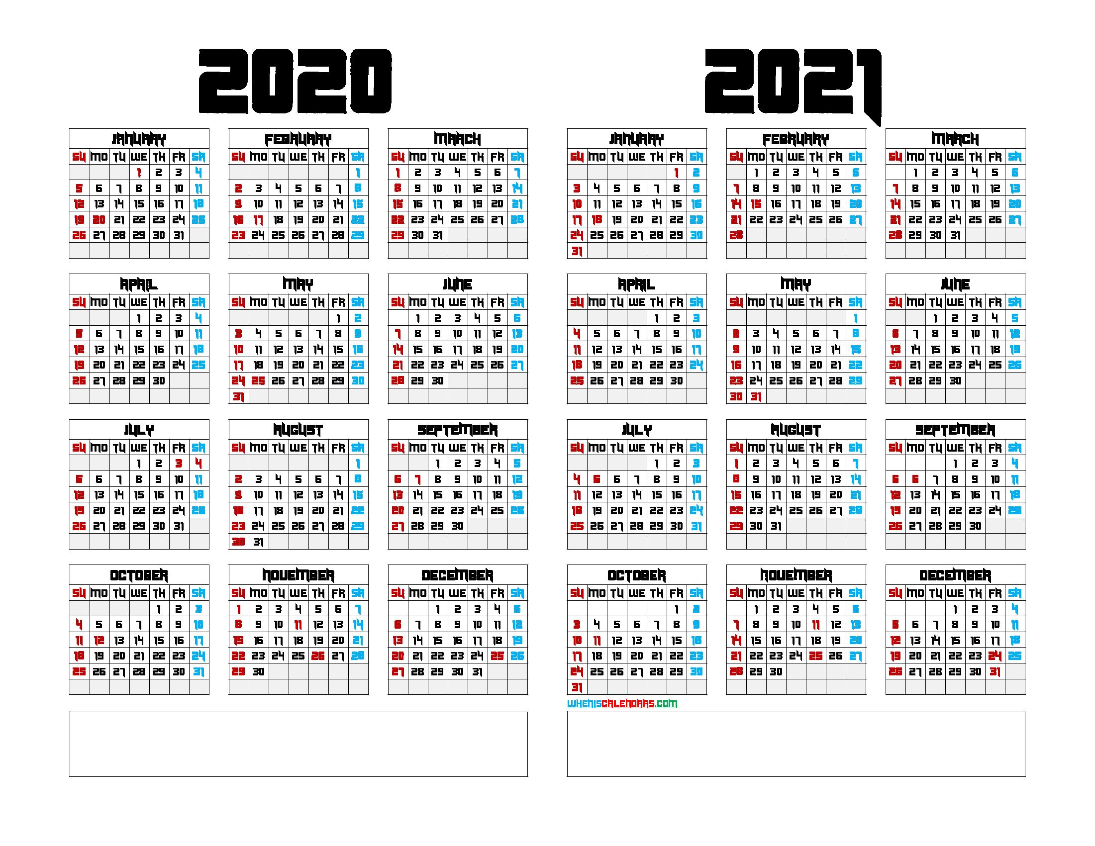 2020 and 2021 Calendar Template