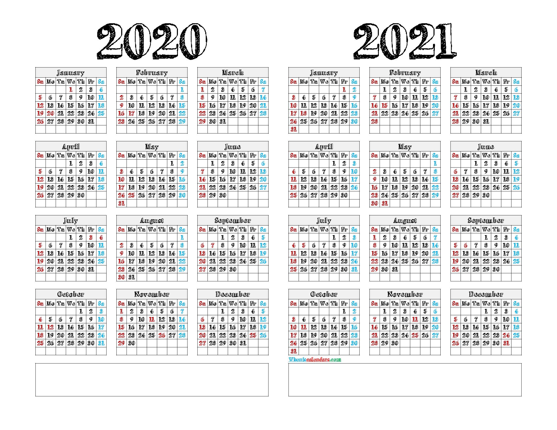 Free Printable 2020 and 2021 Calendar