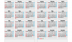 2020 and 2021 Calendar Template