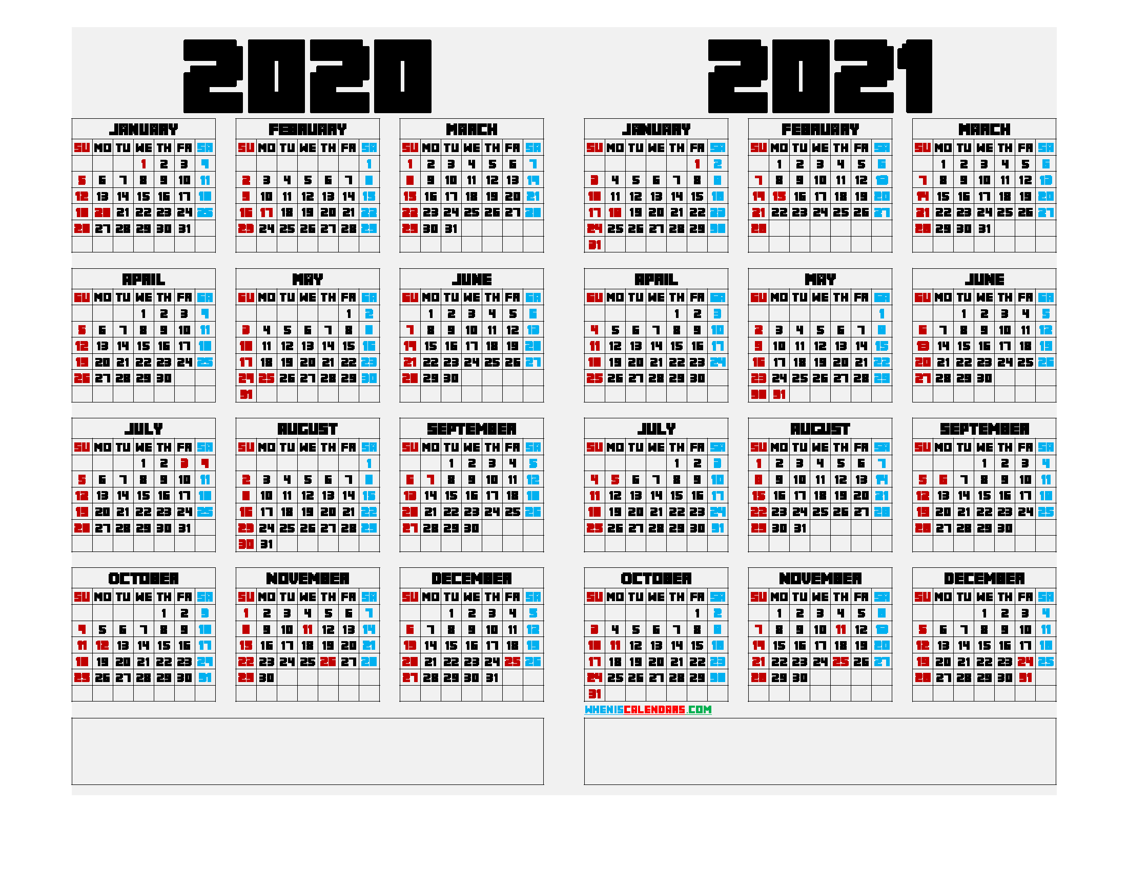 Printable 2020 and 2021 Calendar Landscape