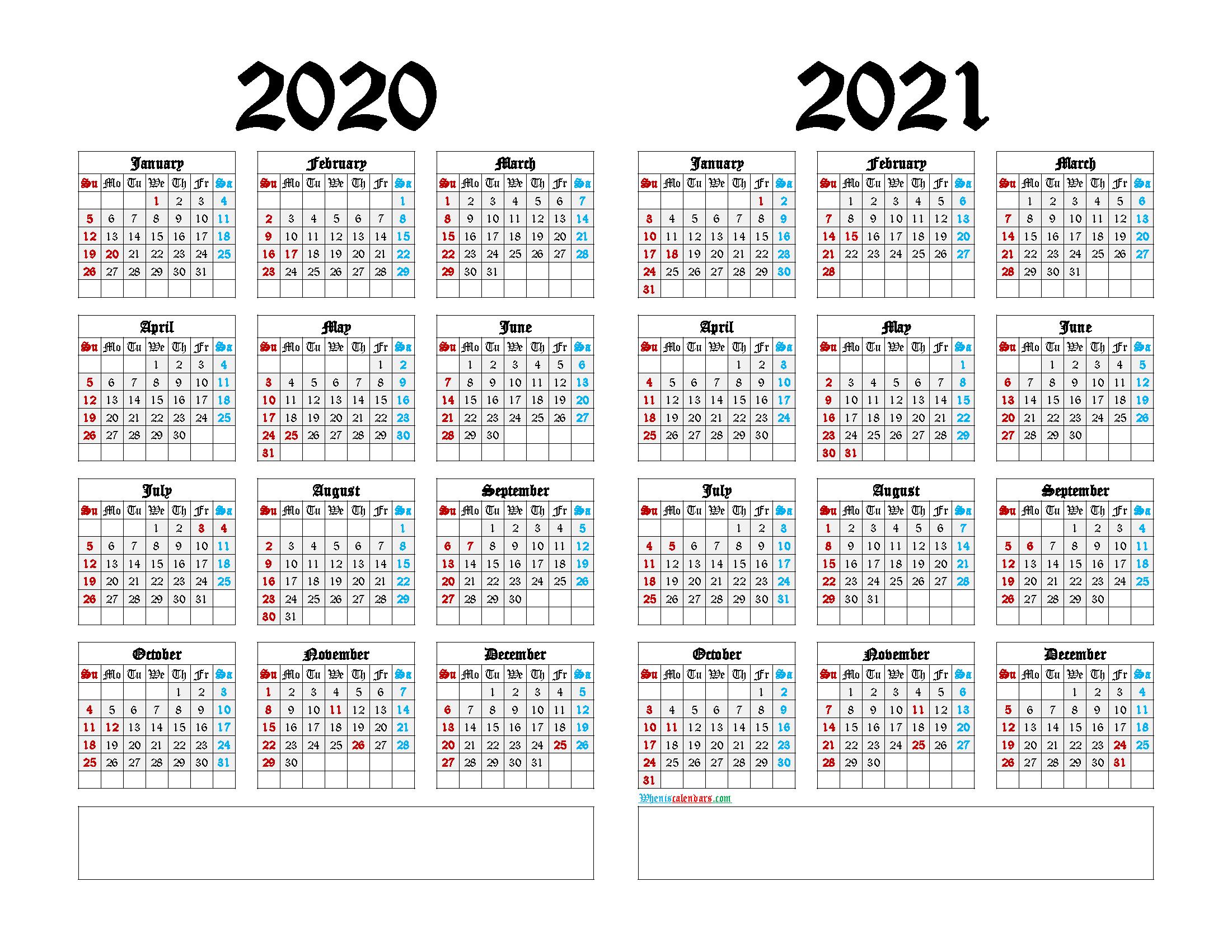 2020 and 2021 Printable Calendar Landscape
