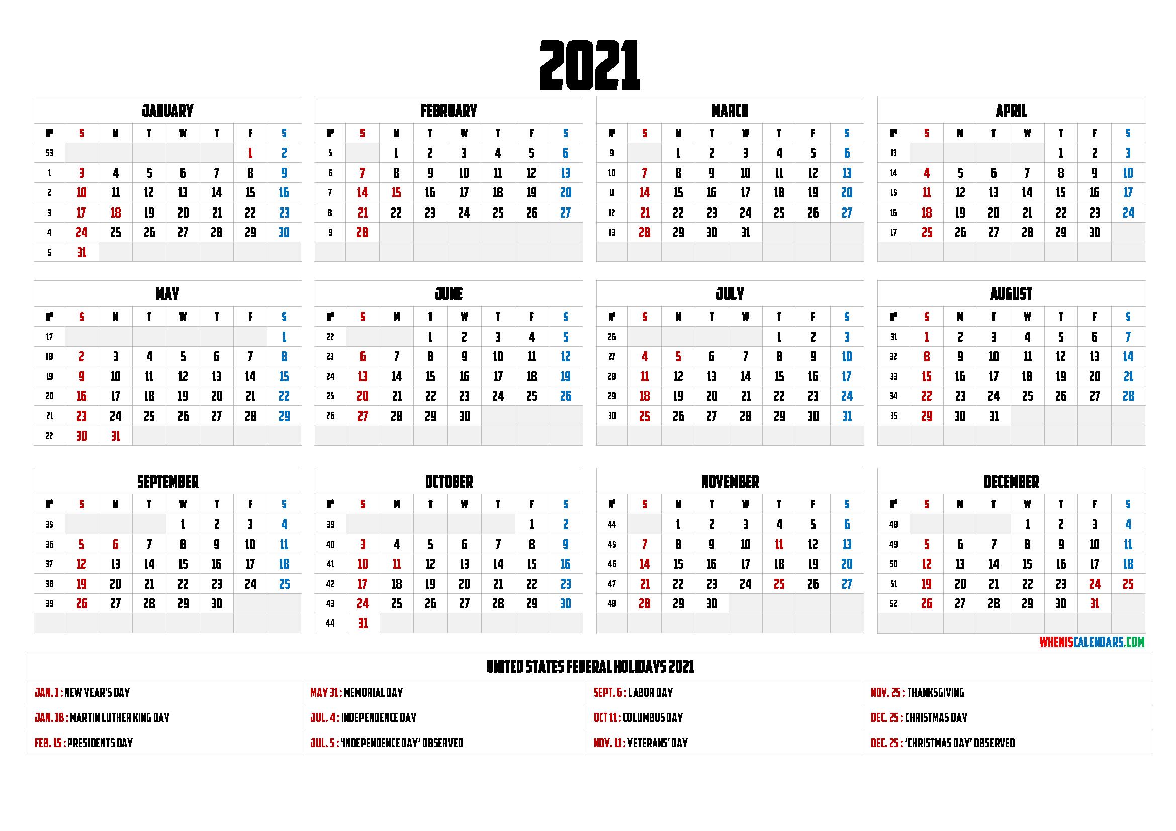 Free Printable Calendar 2021 with Holidays