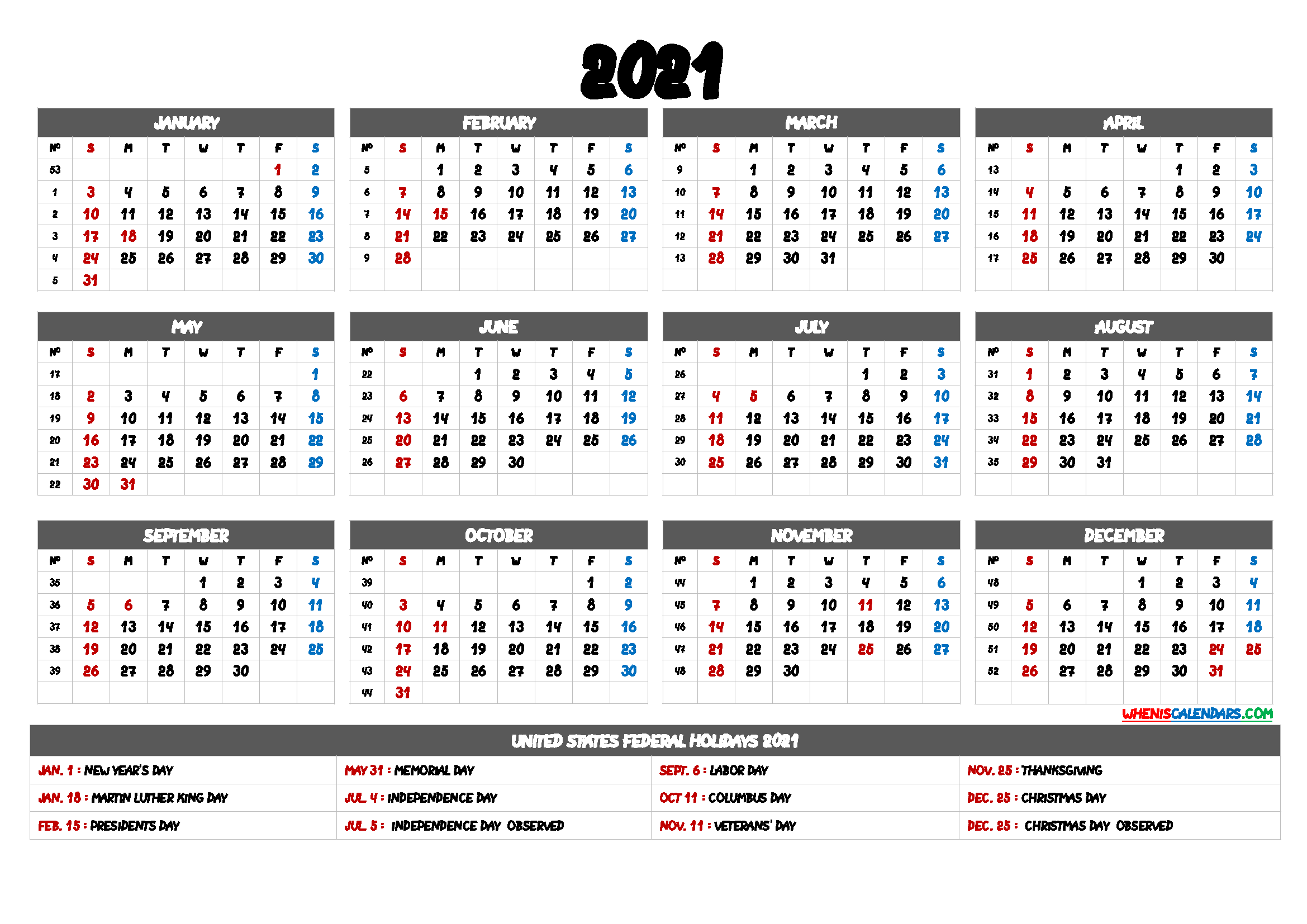Printable 2021 Calendar with Holidays in U.S.