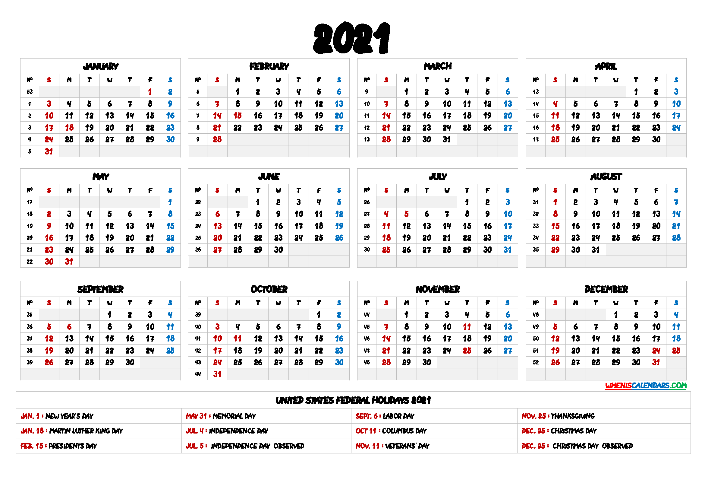 2021 Printable Calendar One Page With Holidays Images