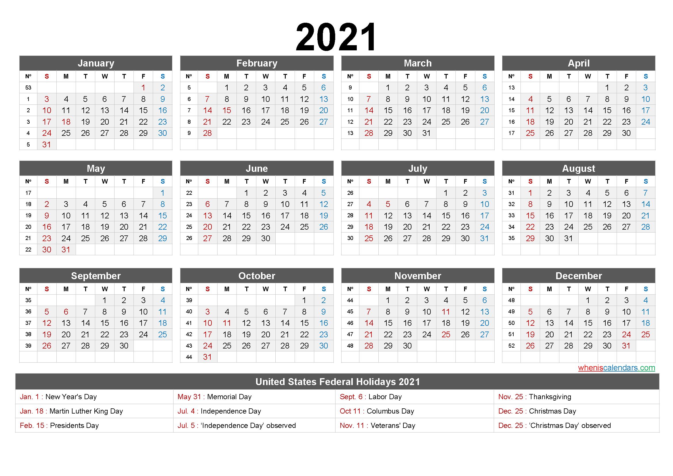 Printable 2021 Calendar One Page
