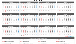 Printable 2021 Yearly Calendar with Holidays
