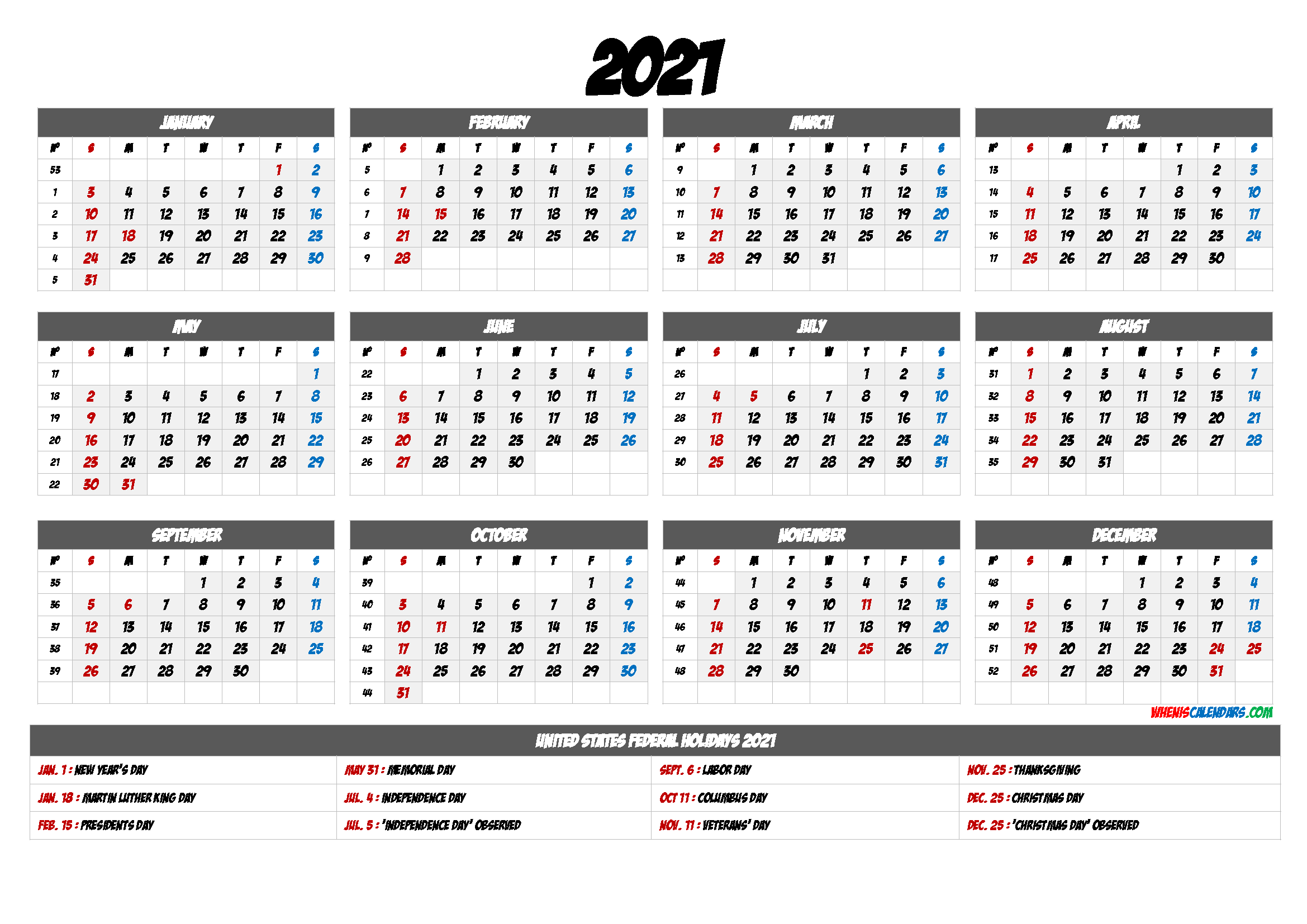 Printable 12 Month Calendar on One Page 2021