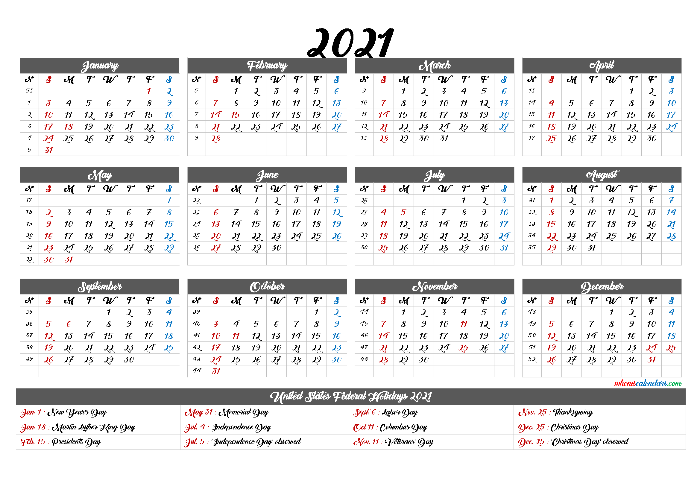 2021 One Page Calendar Printable - 9 Templates