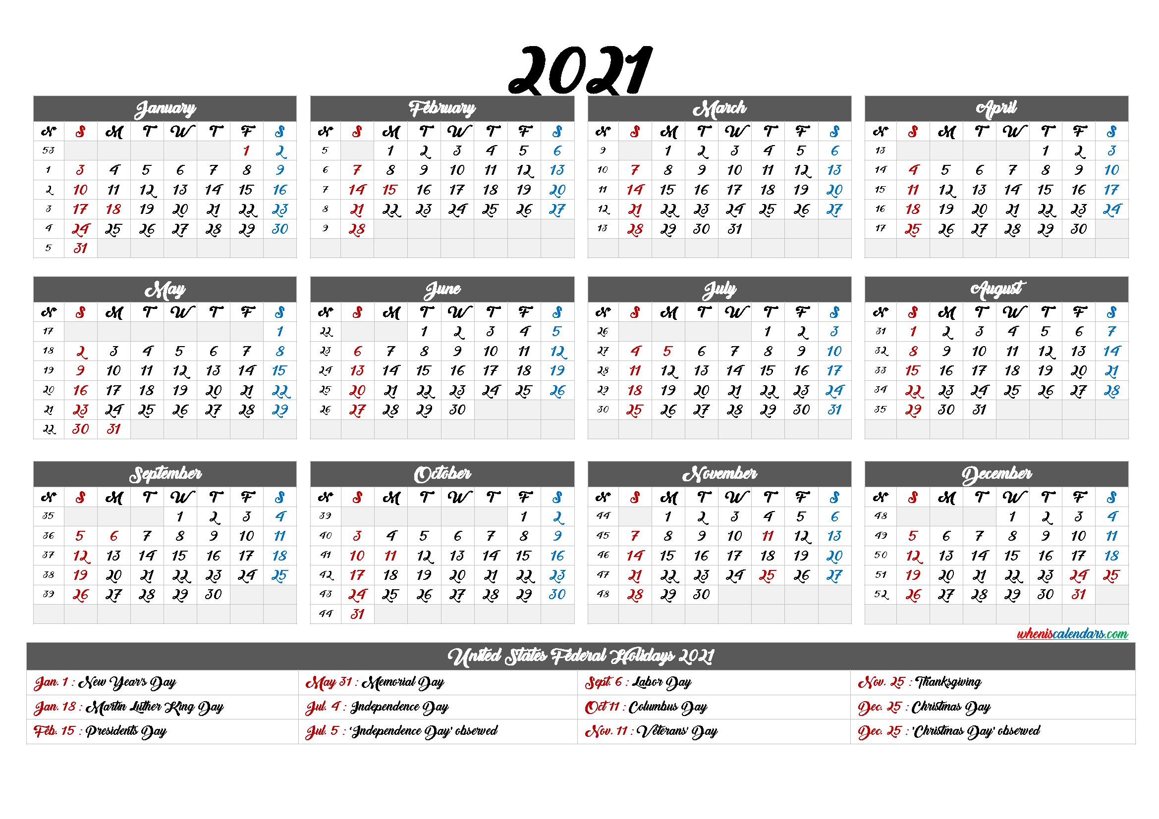Free 2021 Yearly Calendar Printable