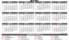 Printable Calendar 2021 with Holidays