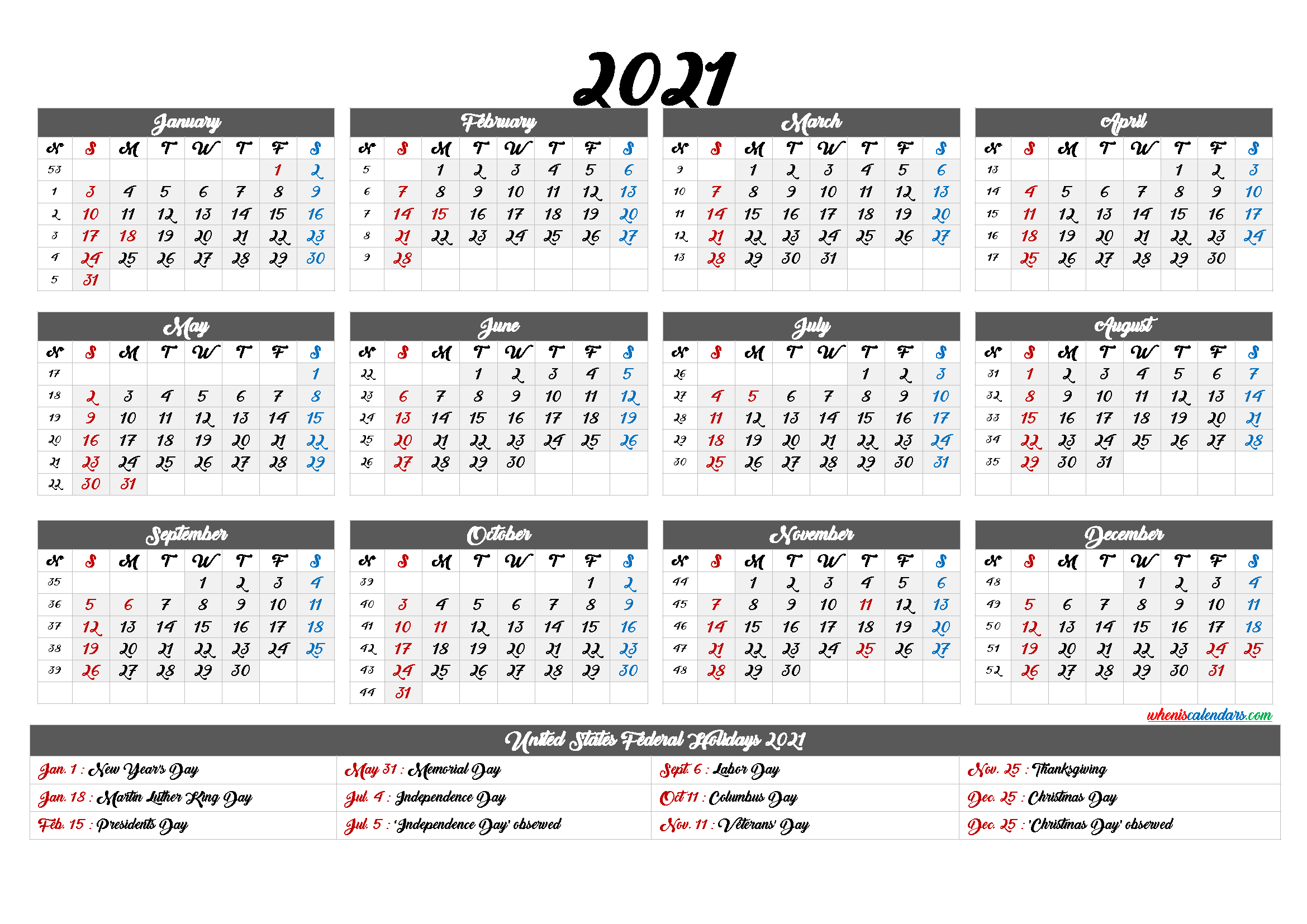 Printable Calendar 2021 with Holidays - 6 Templates - Free ...