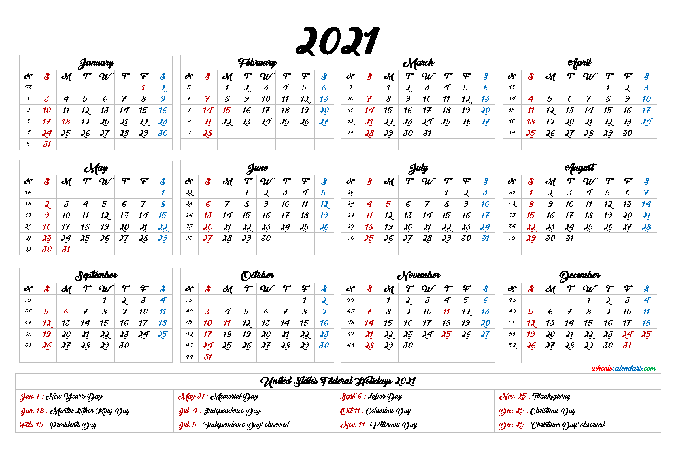 Printable 2021 Calendar with Holidays - 9 Templates | Free ...