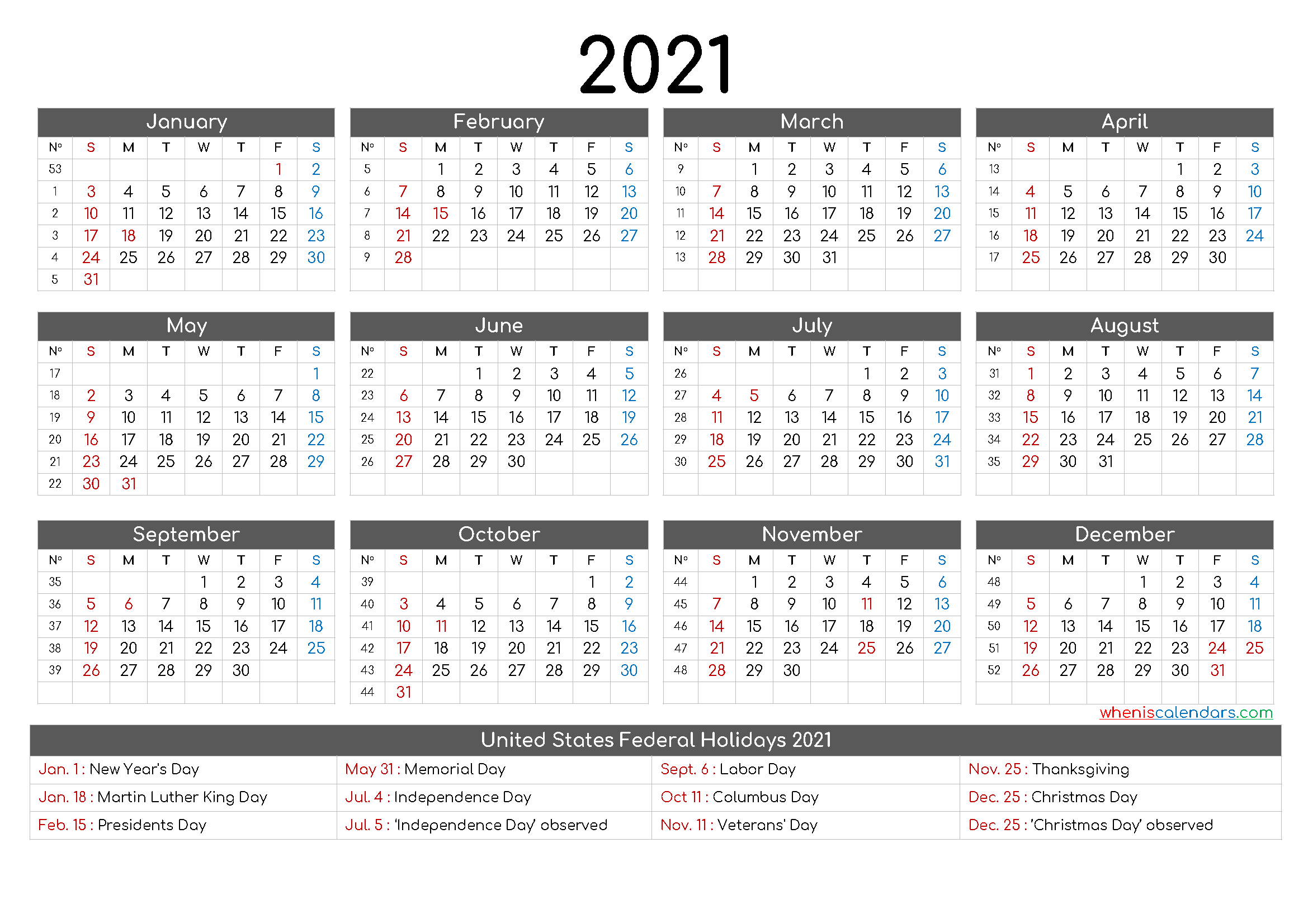 Free Printable 12 Month Calendar 2021 – 12 Templates – Free 2020