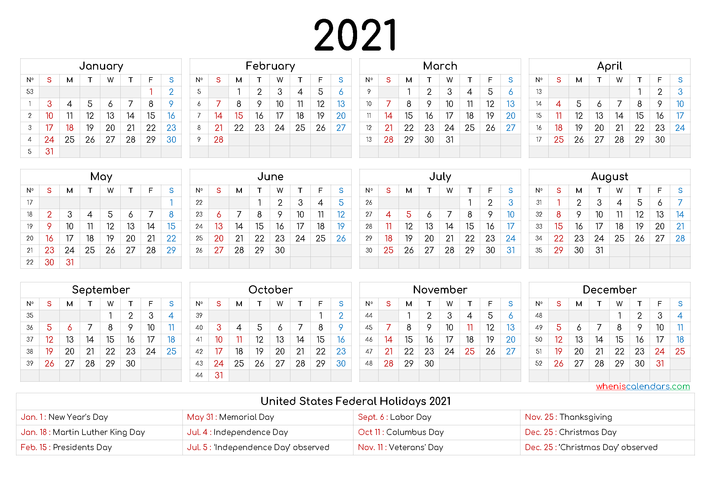 Free Printable 2021Yearly Calendar