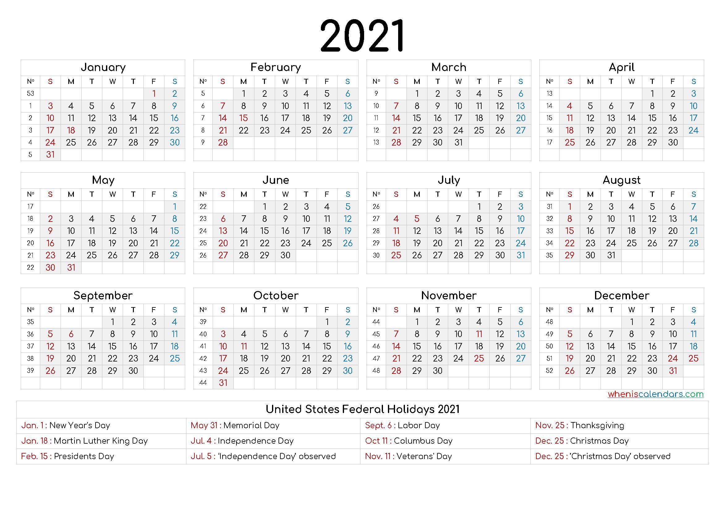 Printable Calendar 2021 Free