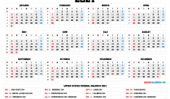 Free 2021 Calendar Printable with Holidays