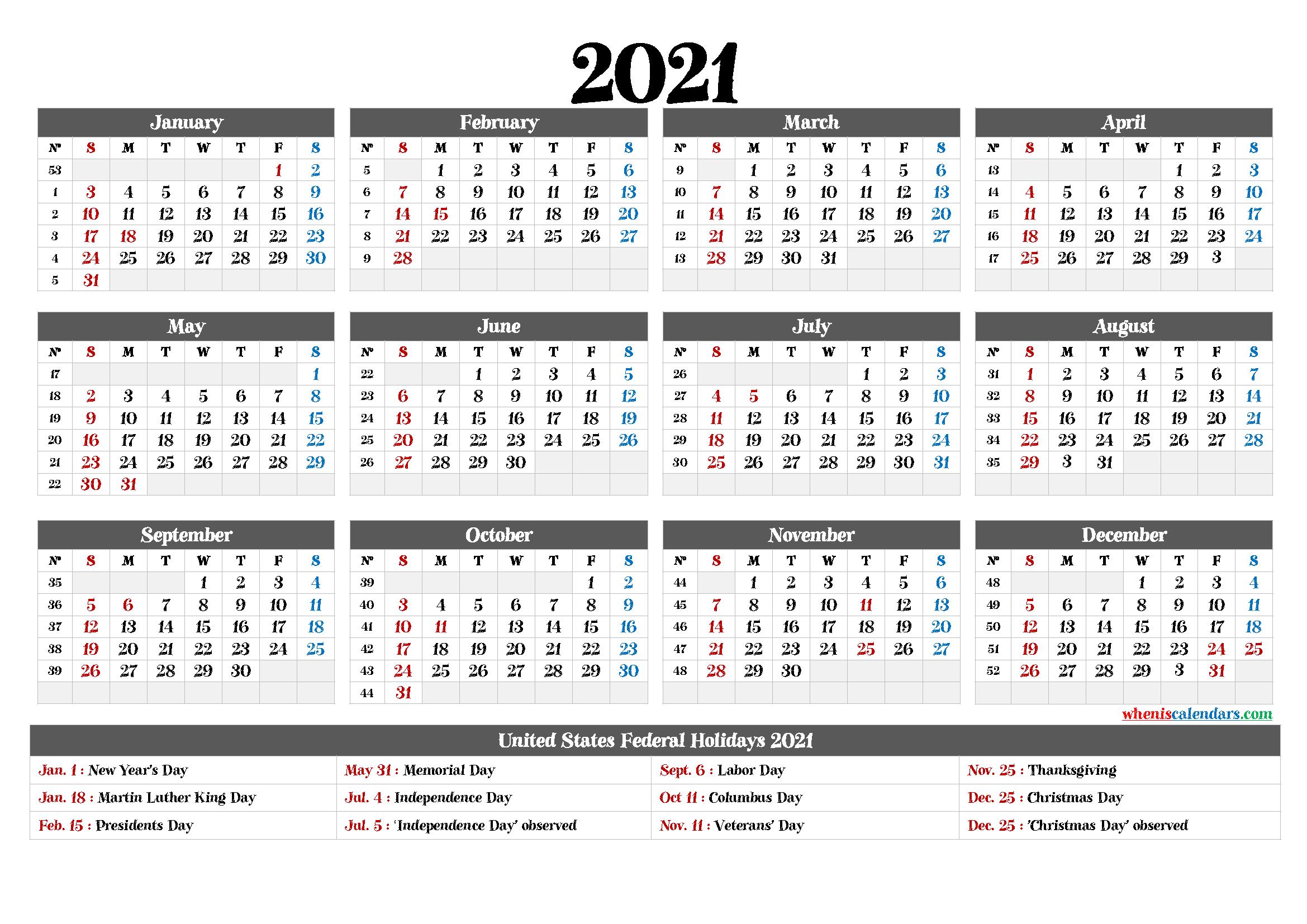 Free Printable 2021Yearly Calendar