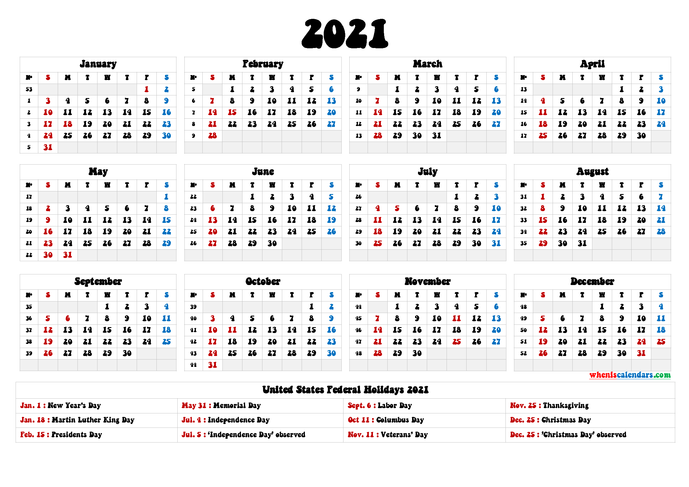 2021 One Page Calendar Printable
