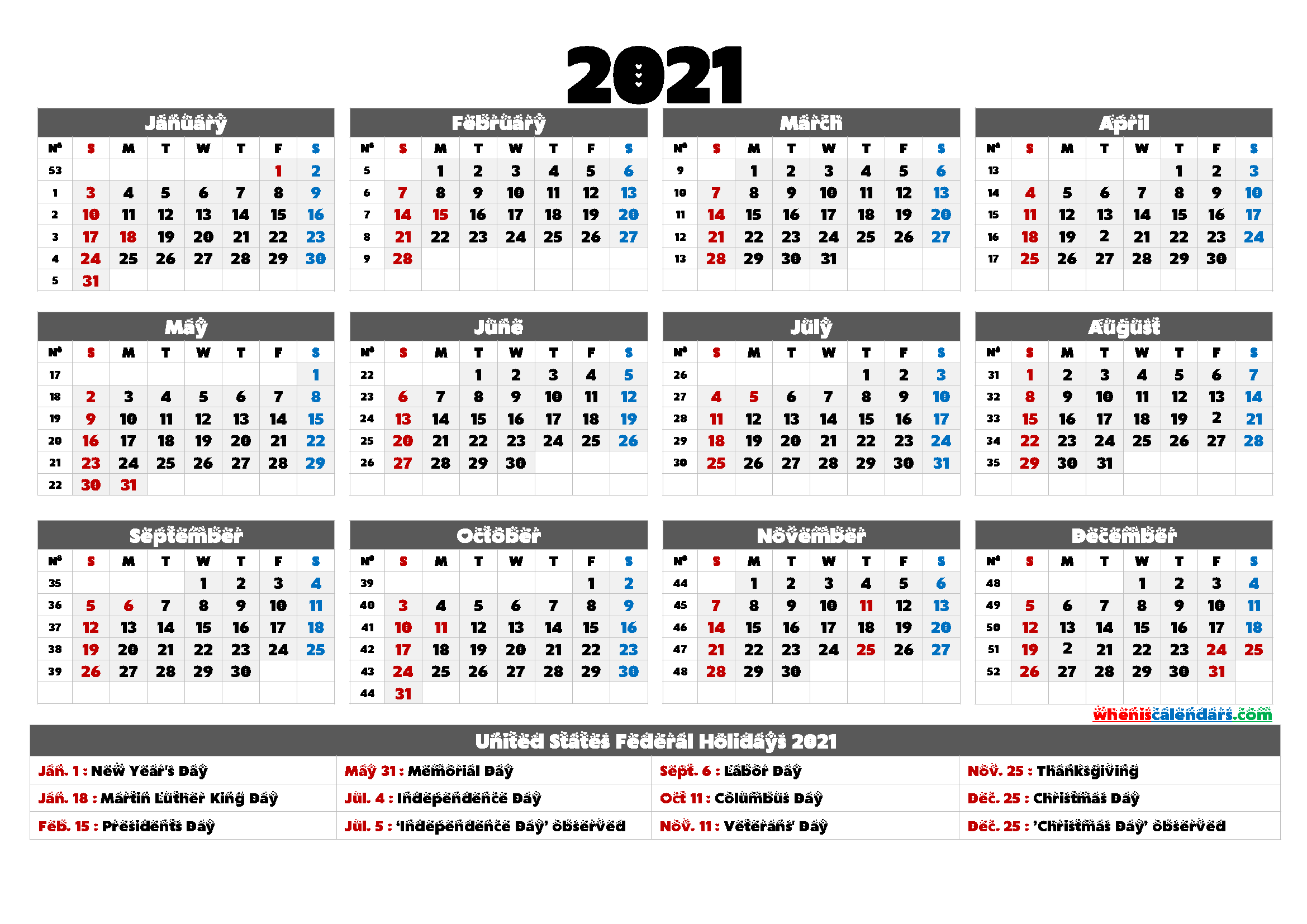 2021 Calendar with Holidays Printable - 6 Templates | Free ...