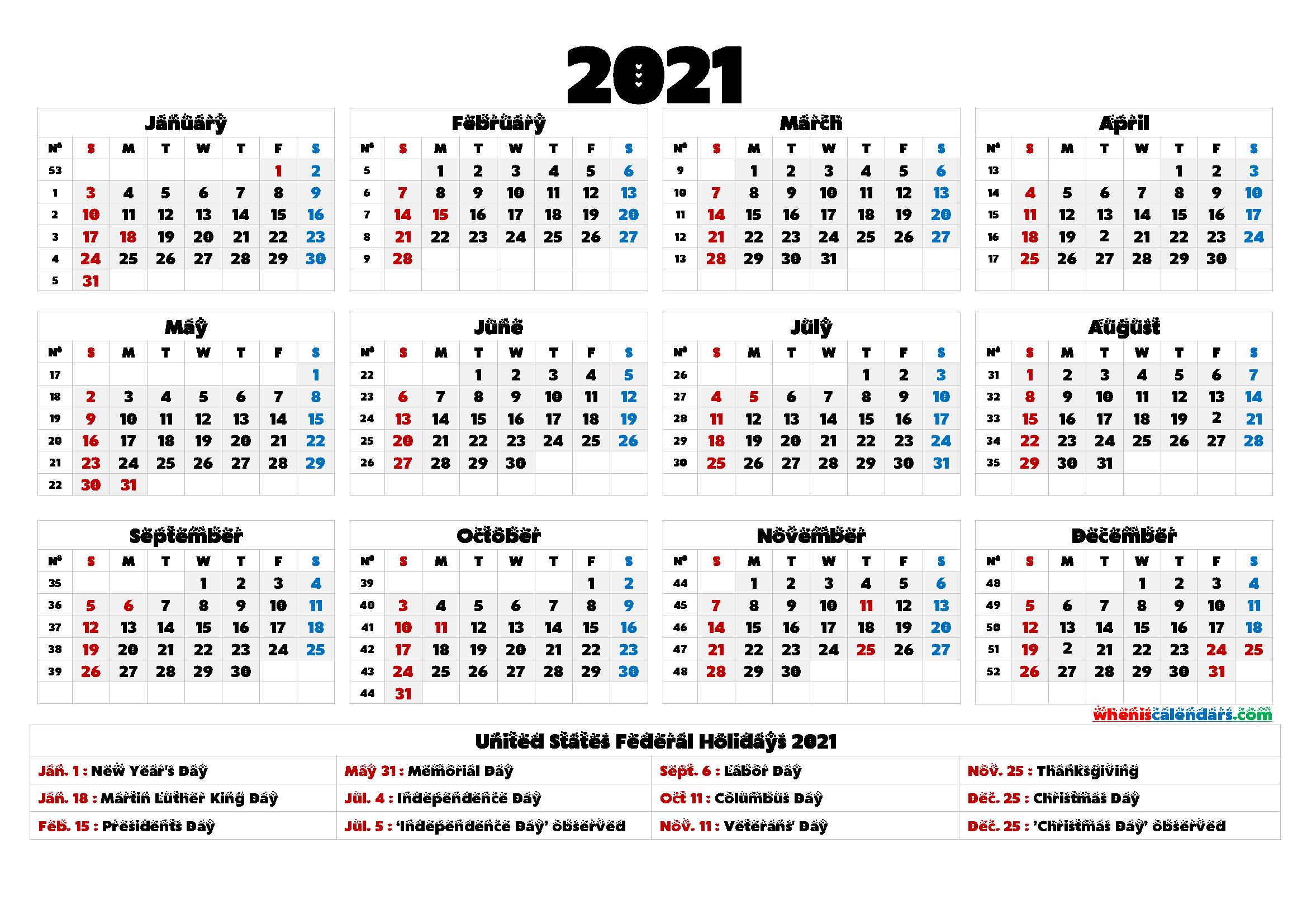 Free Printable 2021 Calendar Templates - 6 Templates ...