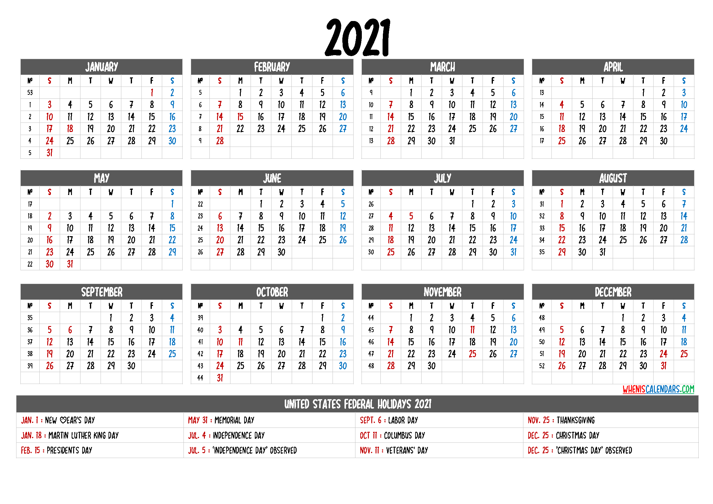 Free Printable Calendar 2021 with Holidays
