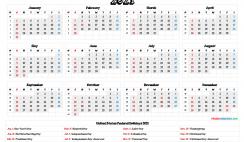 Free 2021 Calendar Printable with Holidays