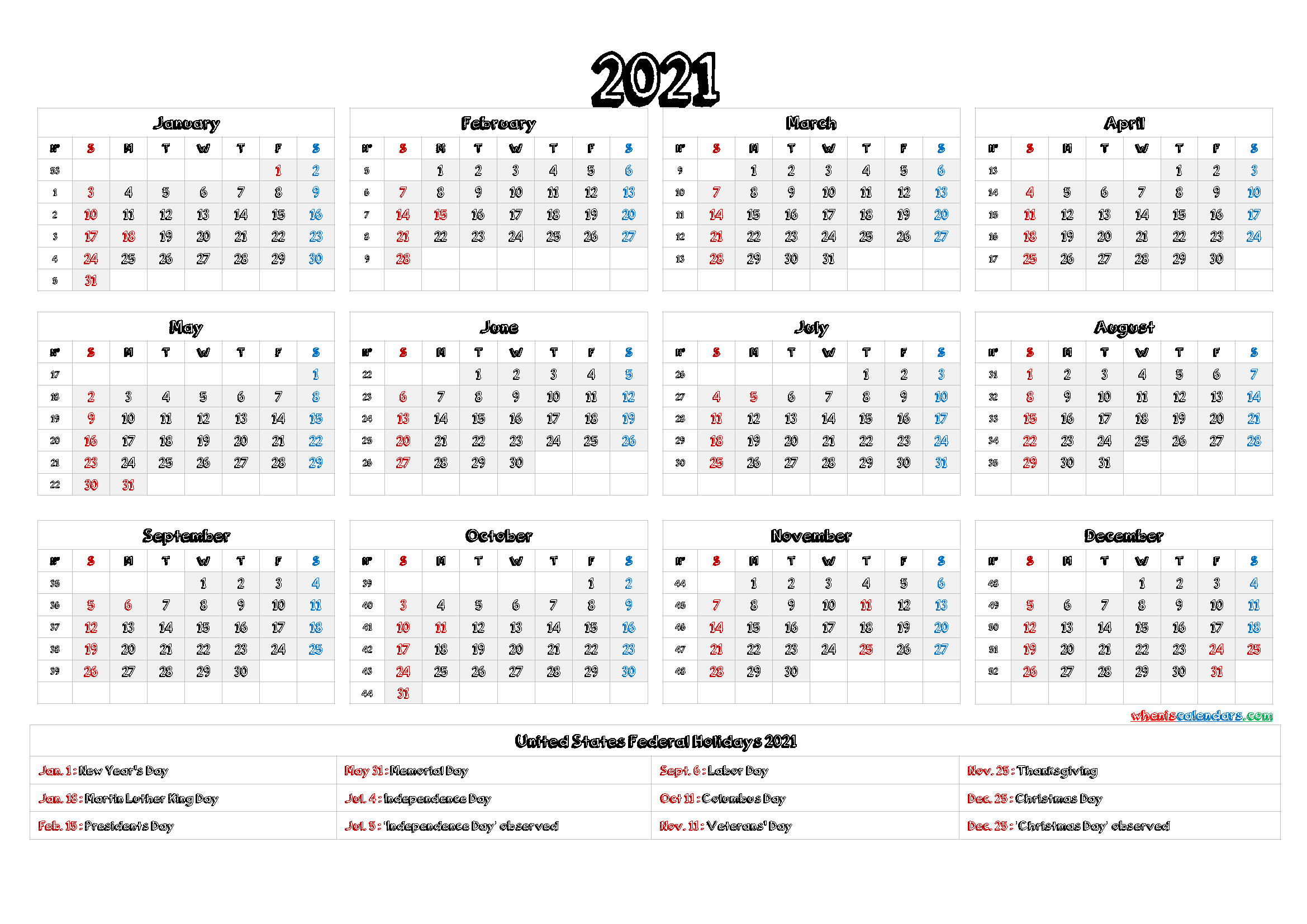 2021 Calendar With Week Number Printable Free - 2021 Year ...