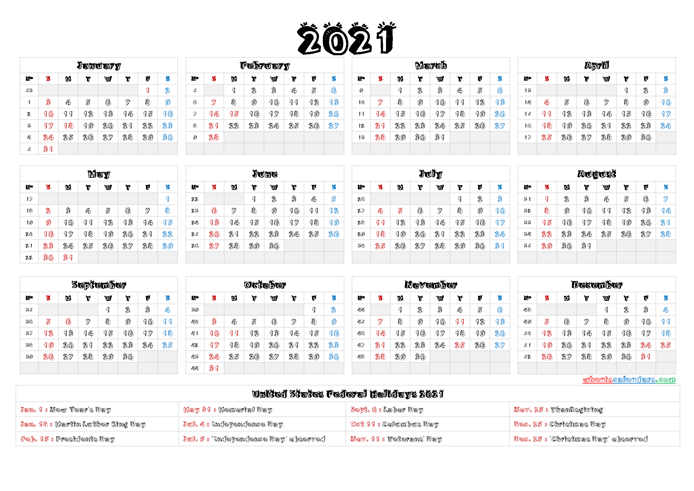 Printable 2021 Calendar One Page - 9 Templates