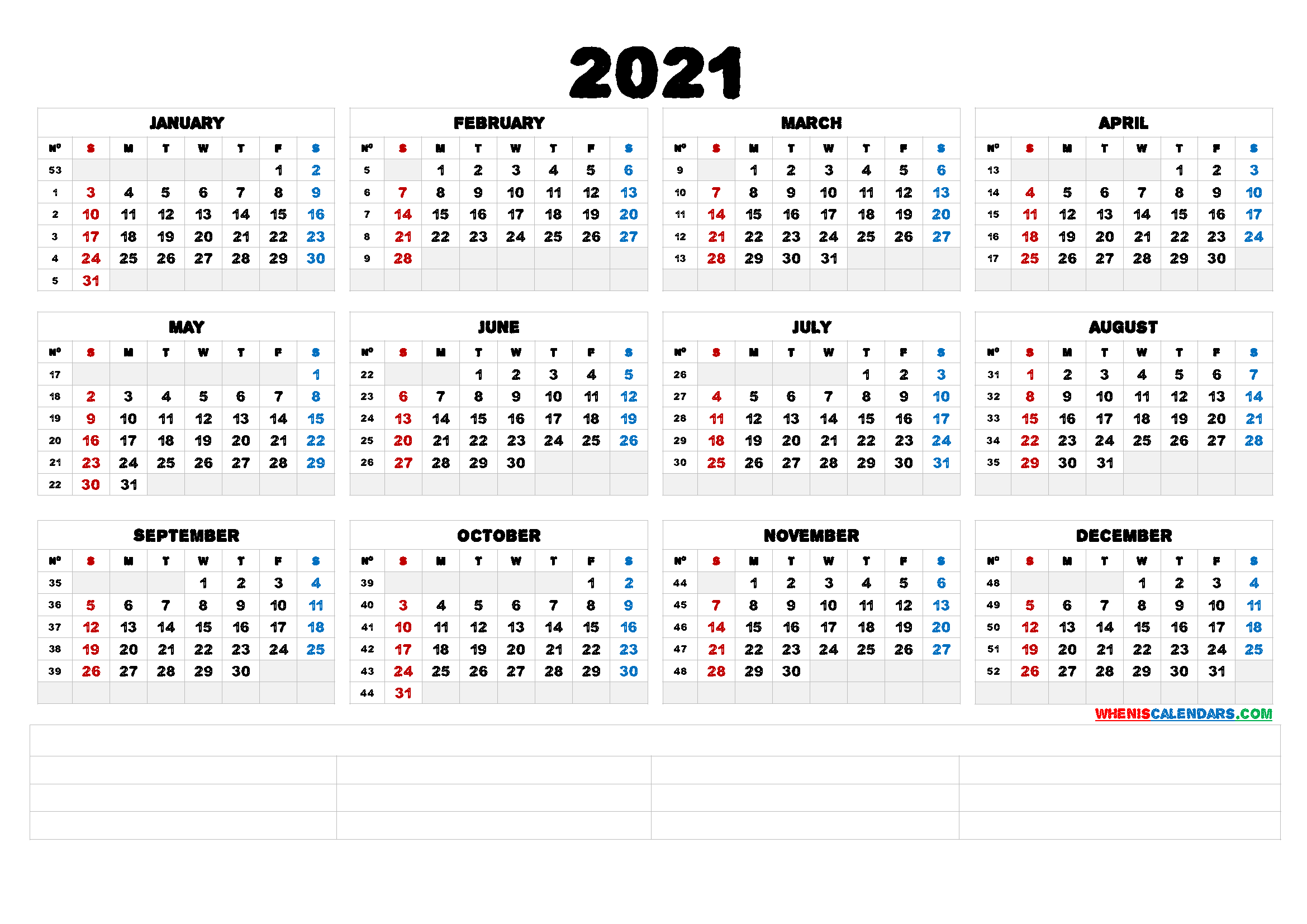 Printable 2021 Calendar by Month (6 Templates) - Free ...