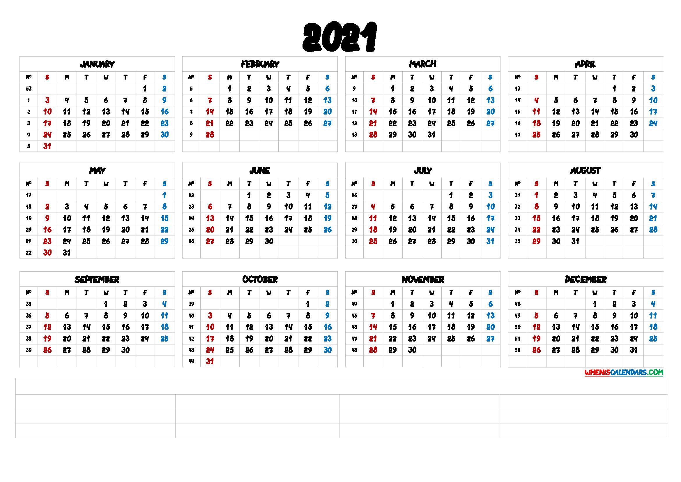 12 Month Calendar Printable 2021