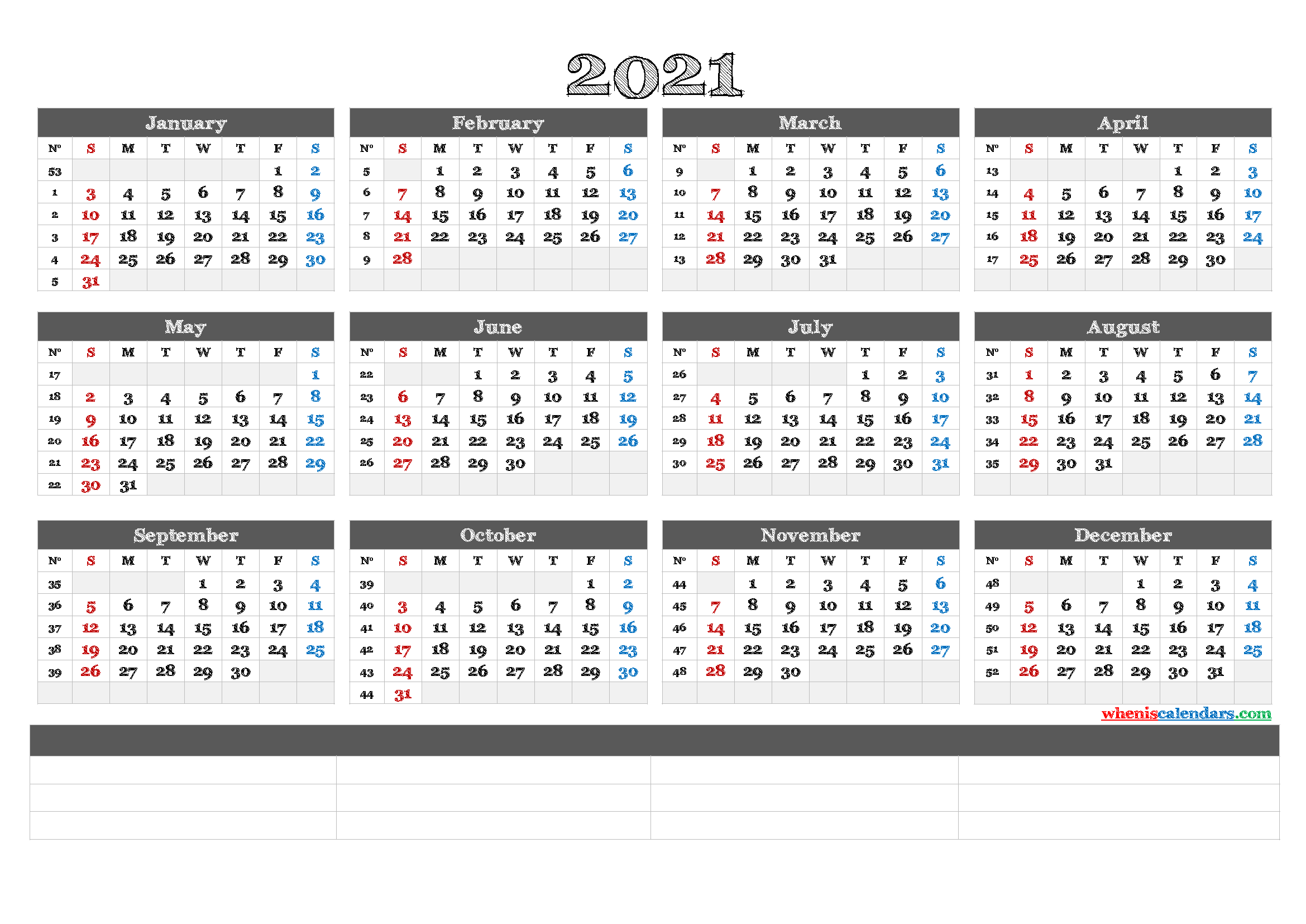 Free Printable 2021 Calendar by Year