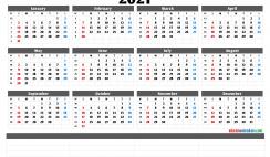 2021 Annual Calendar Printable