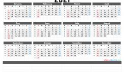 Printable 2021 Yearly Calendar