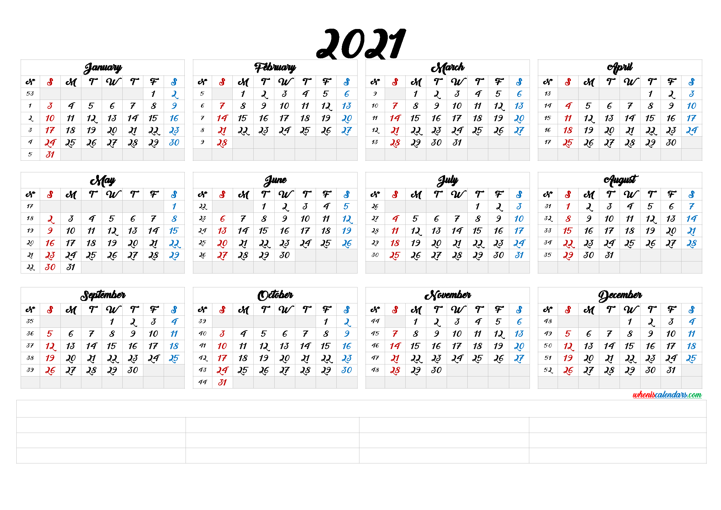 Free Printable 2021 Calendar by Month (6 Templates) - Free ...