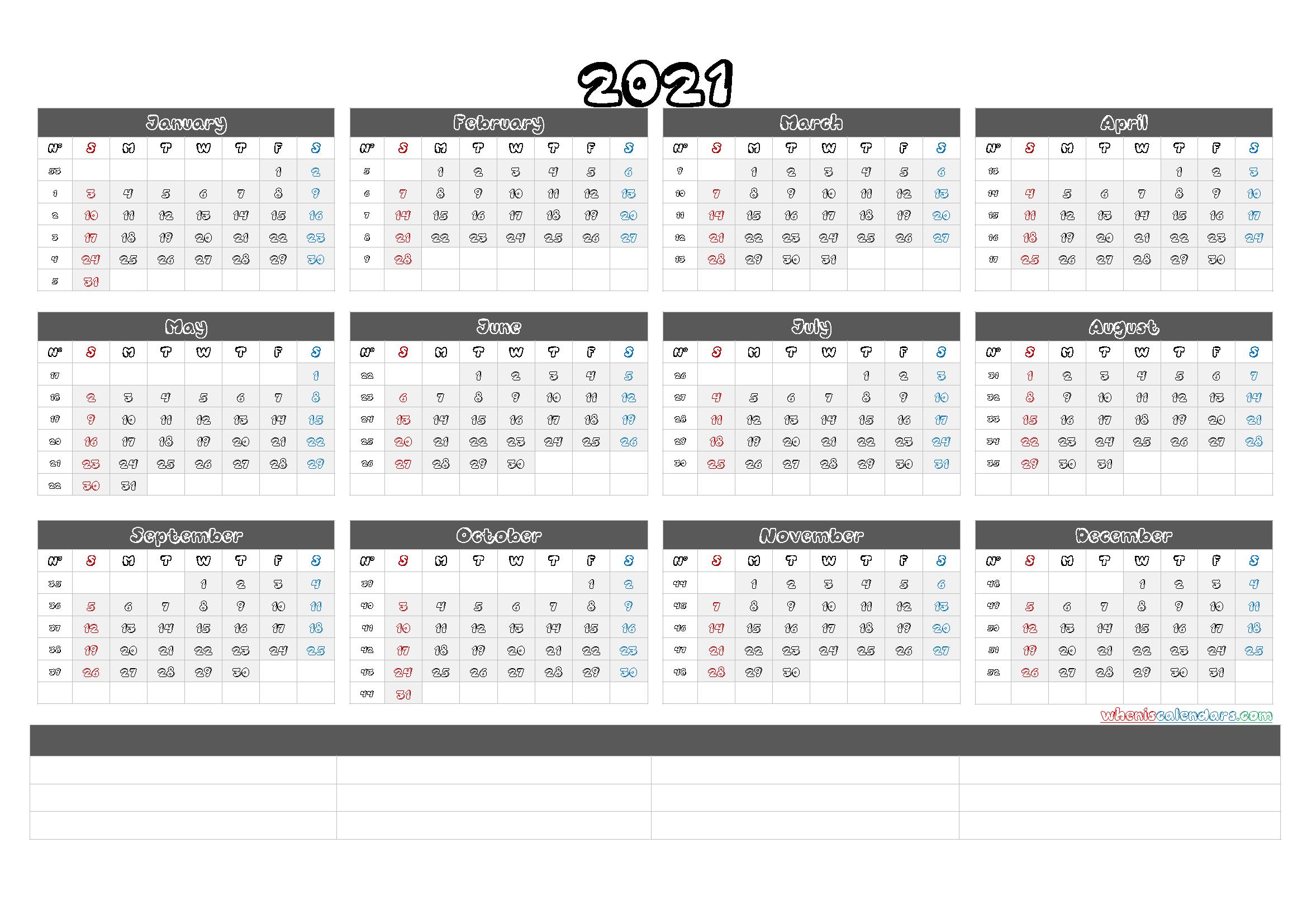 Printable 2021 Calendar Templates