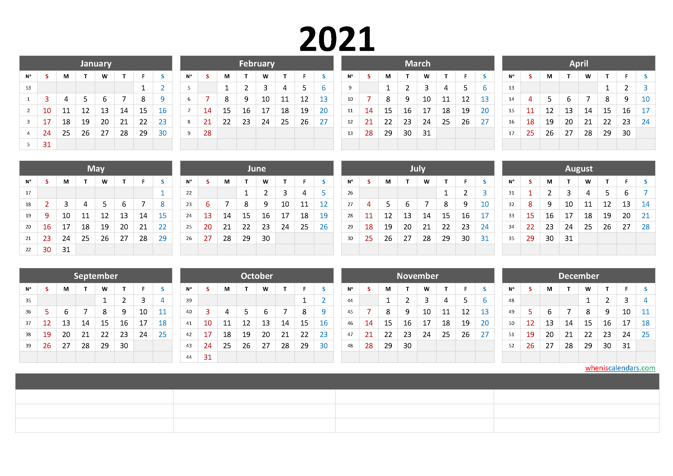 Free Printable 2021 Calendar by Month
