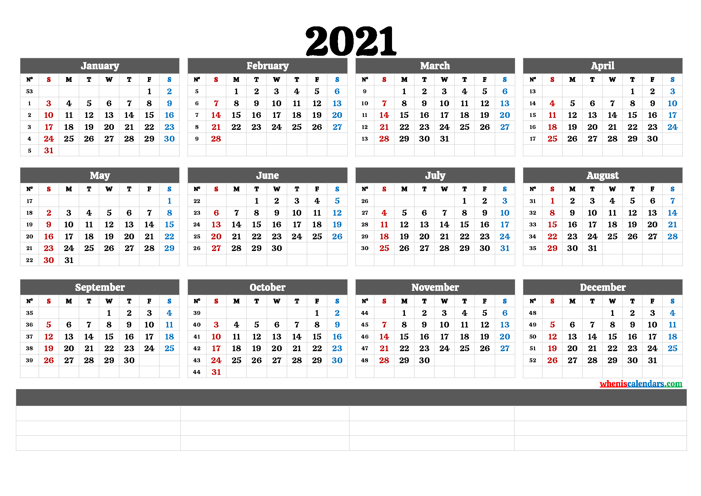Free Editable Weekly 2021 Calendar : FREE Fully Editable ...