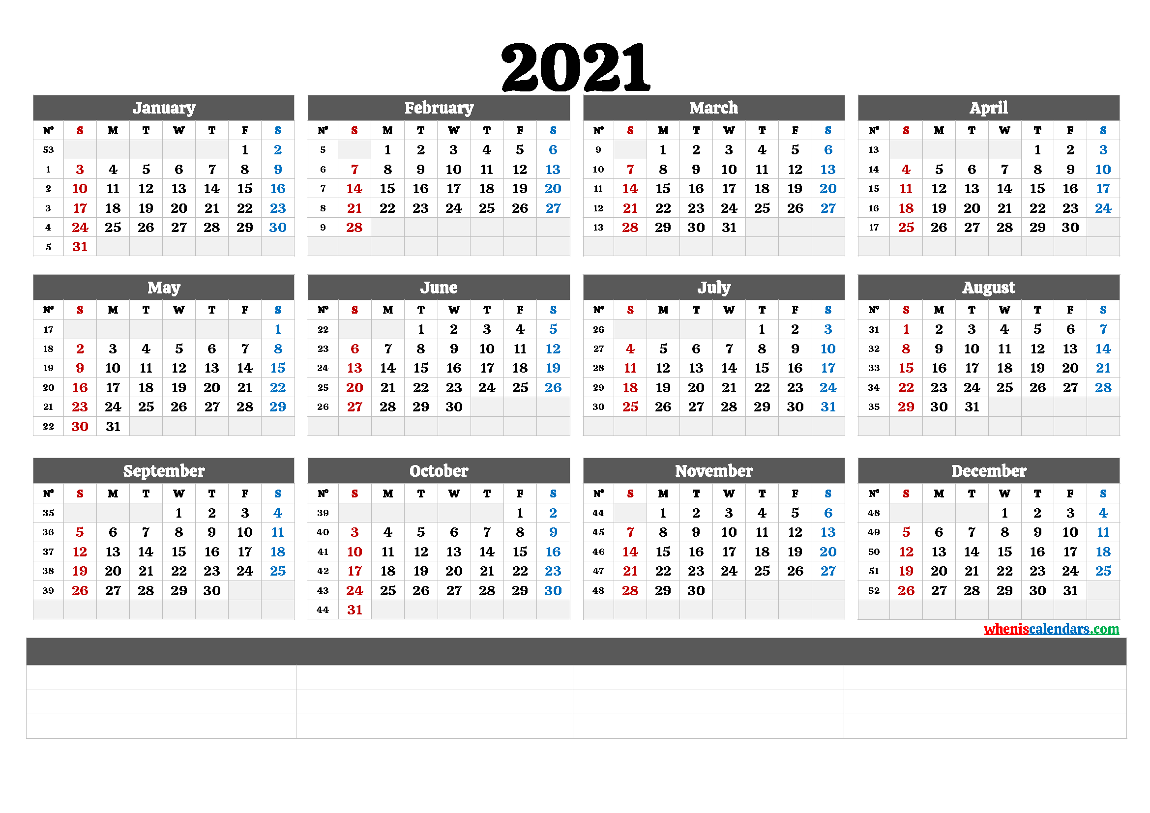 2021 Annual Calendar Printable (6 Templates) | Free ...