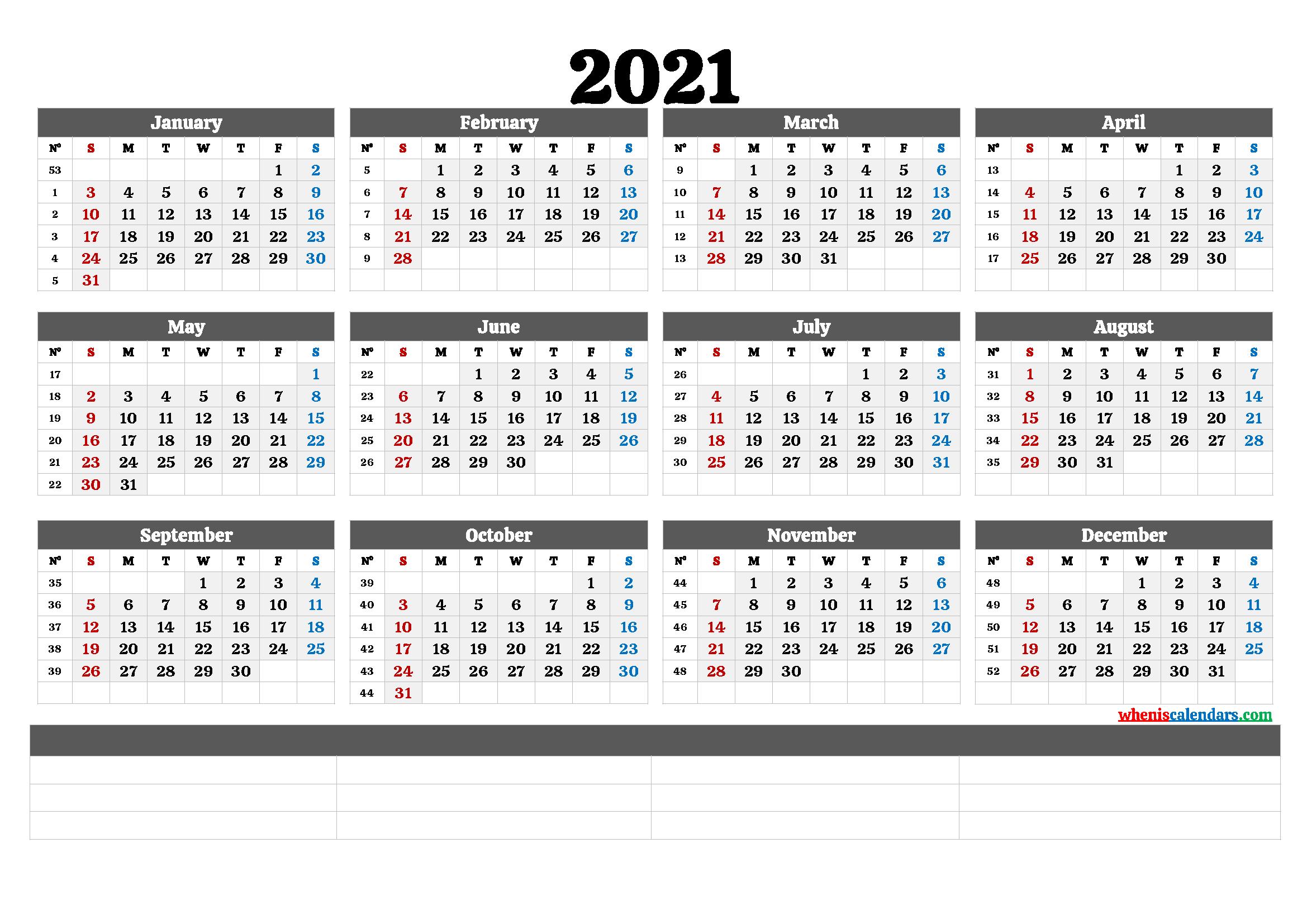 2021 Free Printable Yearly Calendar with Week Numbers