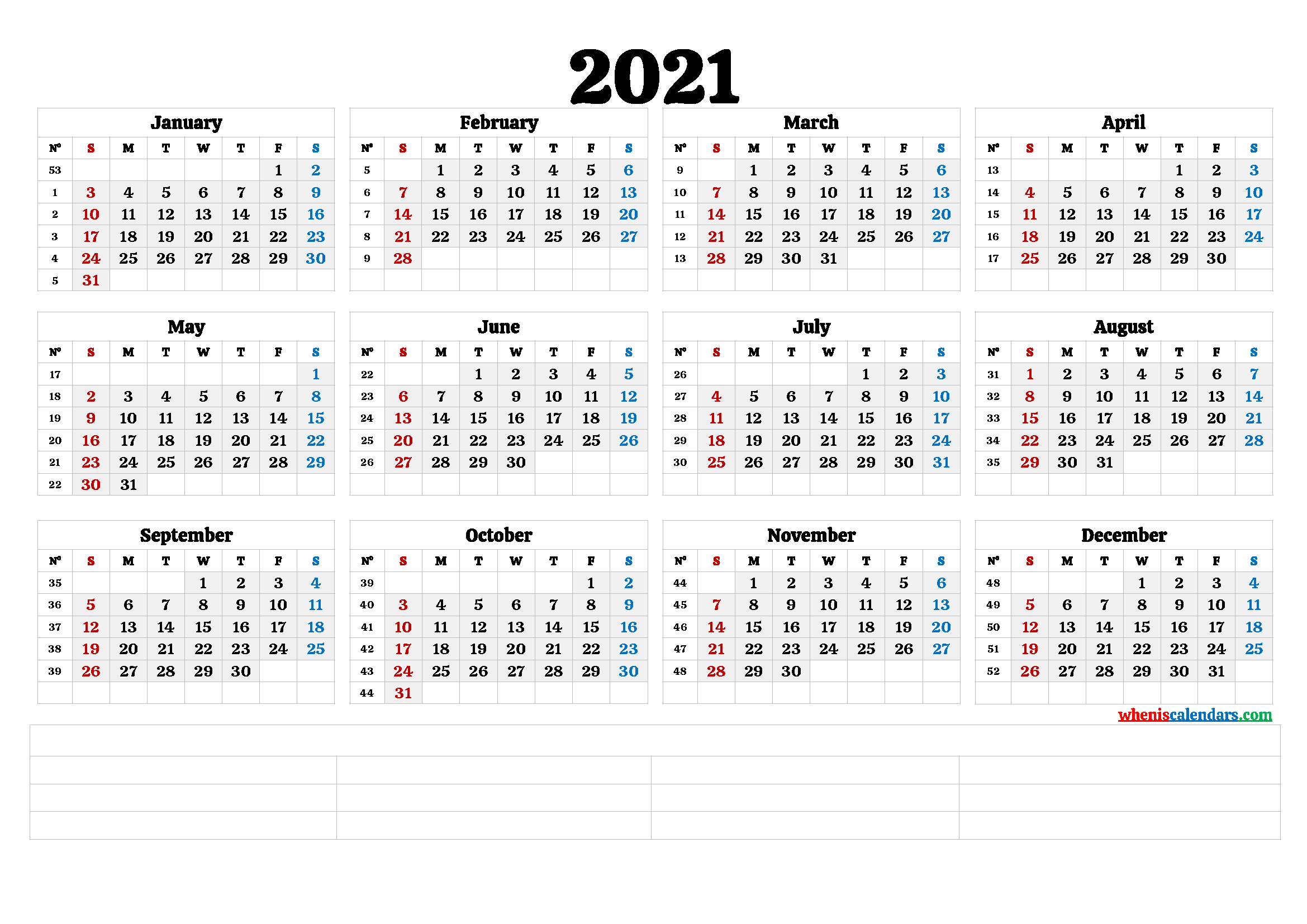 2021 Free Printable Yearly Calendar with Week Numbers (6 ...