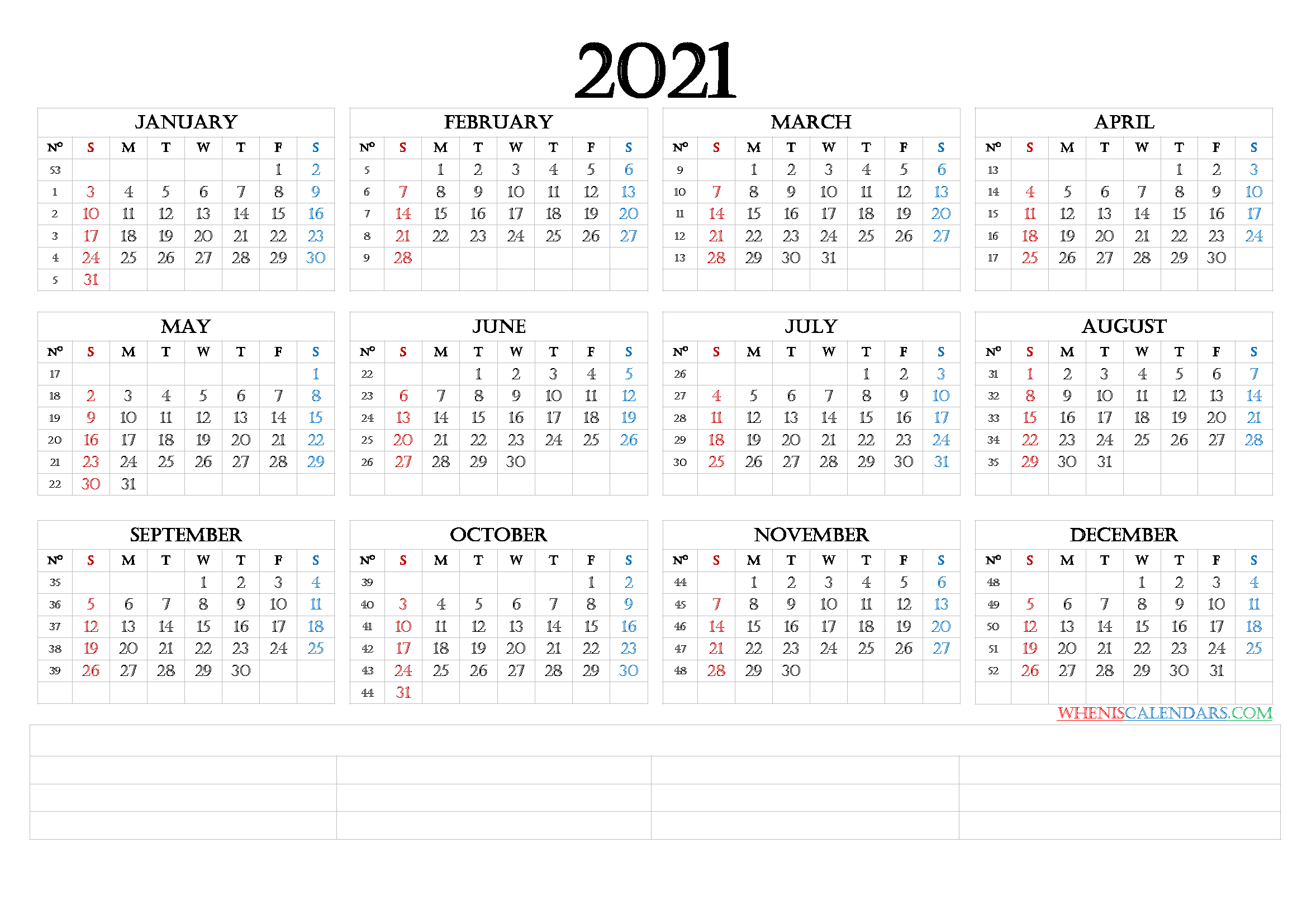 2021 Calendar Overview Pictures